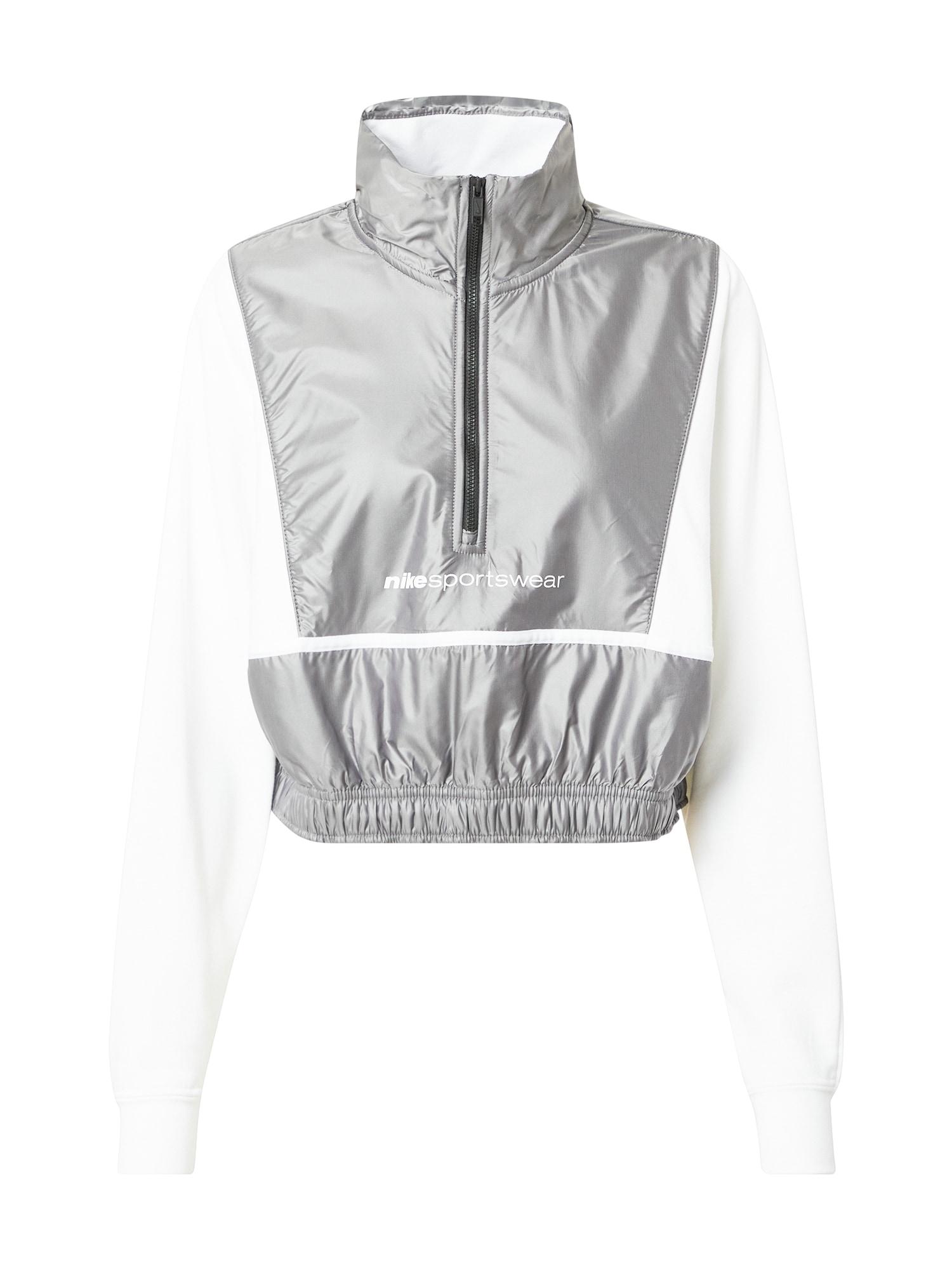 Nike Sportswear Megztinis be užsegimo 'ARCHIVE RMX' balta / sidabro pilka