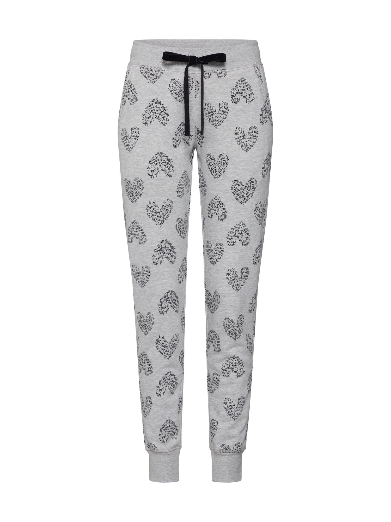 Hunkemöller Pižaminės kelnės 'Sweat Heart Doodle' šviesiai pilka