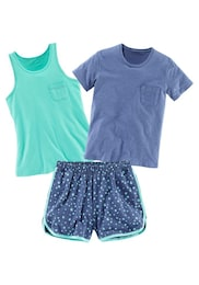 BUFFALO Kinder,Mädchen Pyjama-Set (3-tlg.) blau | 04893962380169