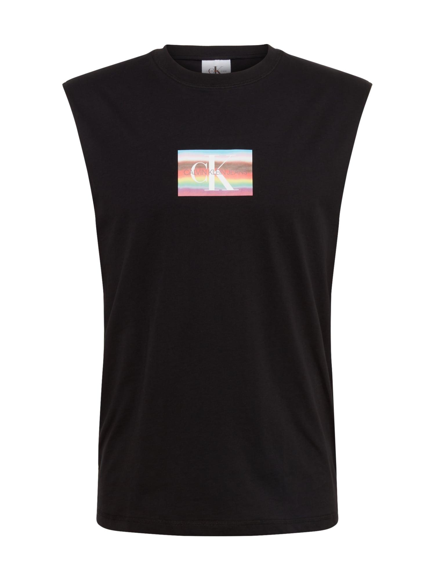 Calvin Klein Jeans Marškinėliai 'PRIDE SMALL FLAG SLS TEE' juoda