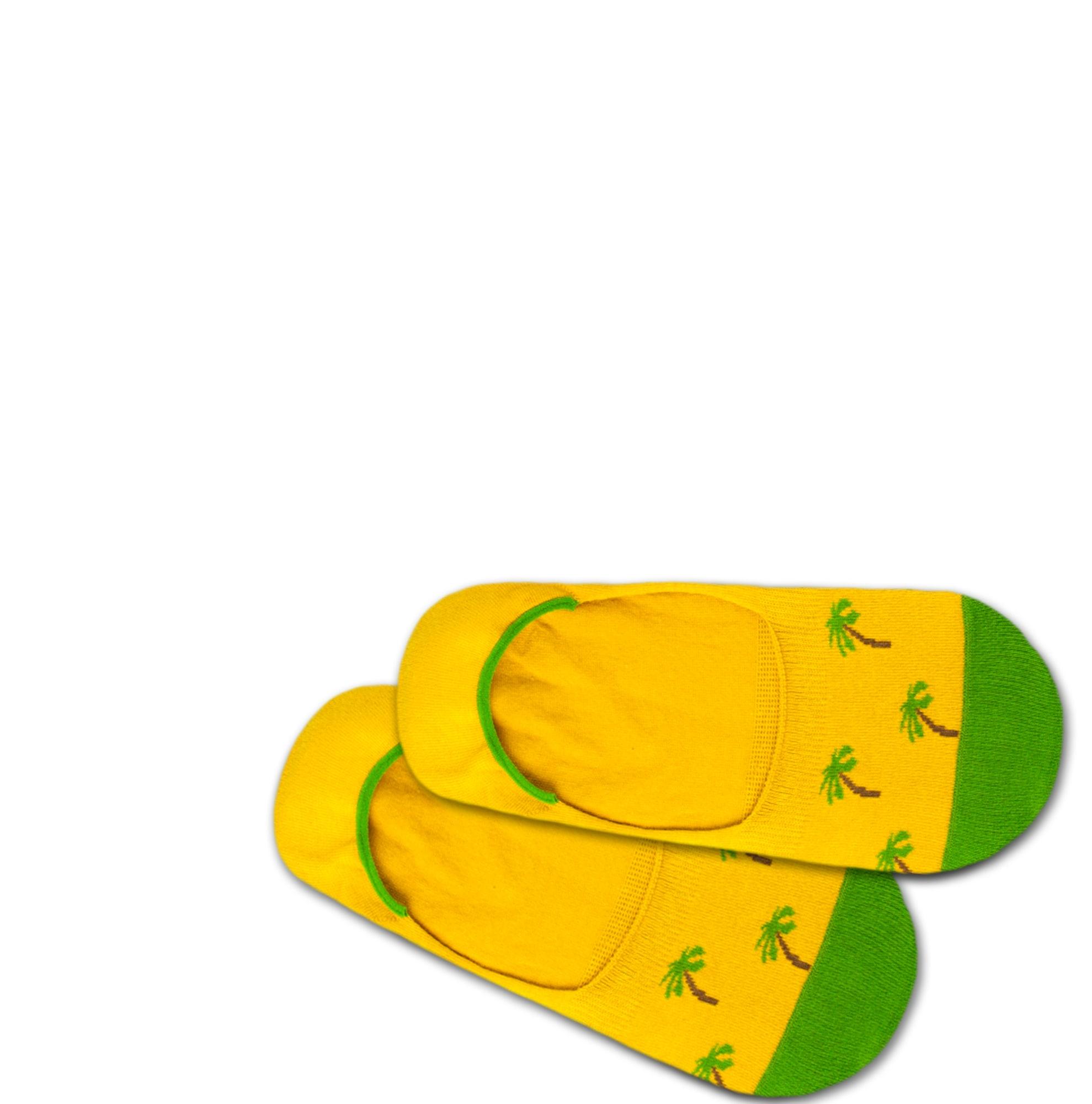 Ťapky Hidden Palm Beach žlutá zelená DillySocks