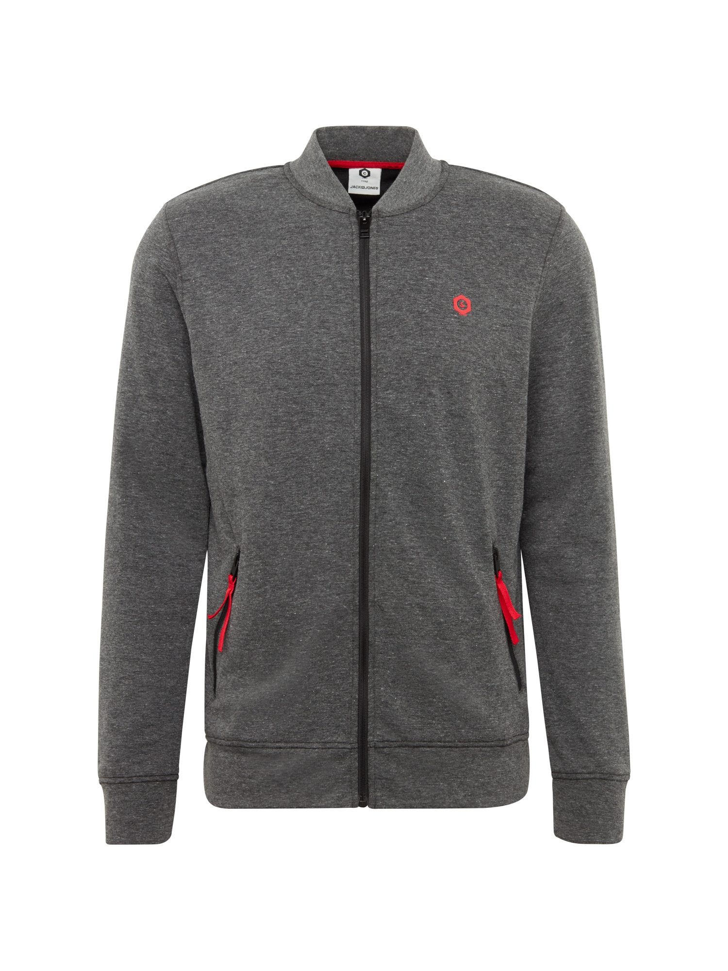 JACK & JONES Džemperis 'MART SWEAT ZIP MIX PACK' tamsiai pilka