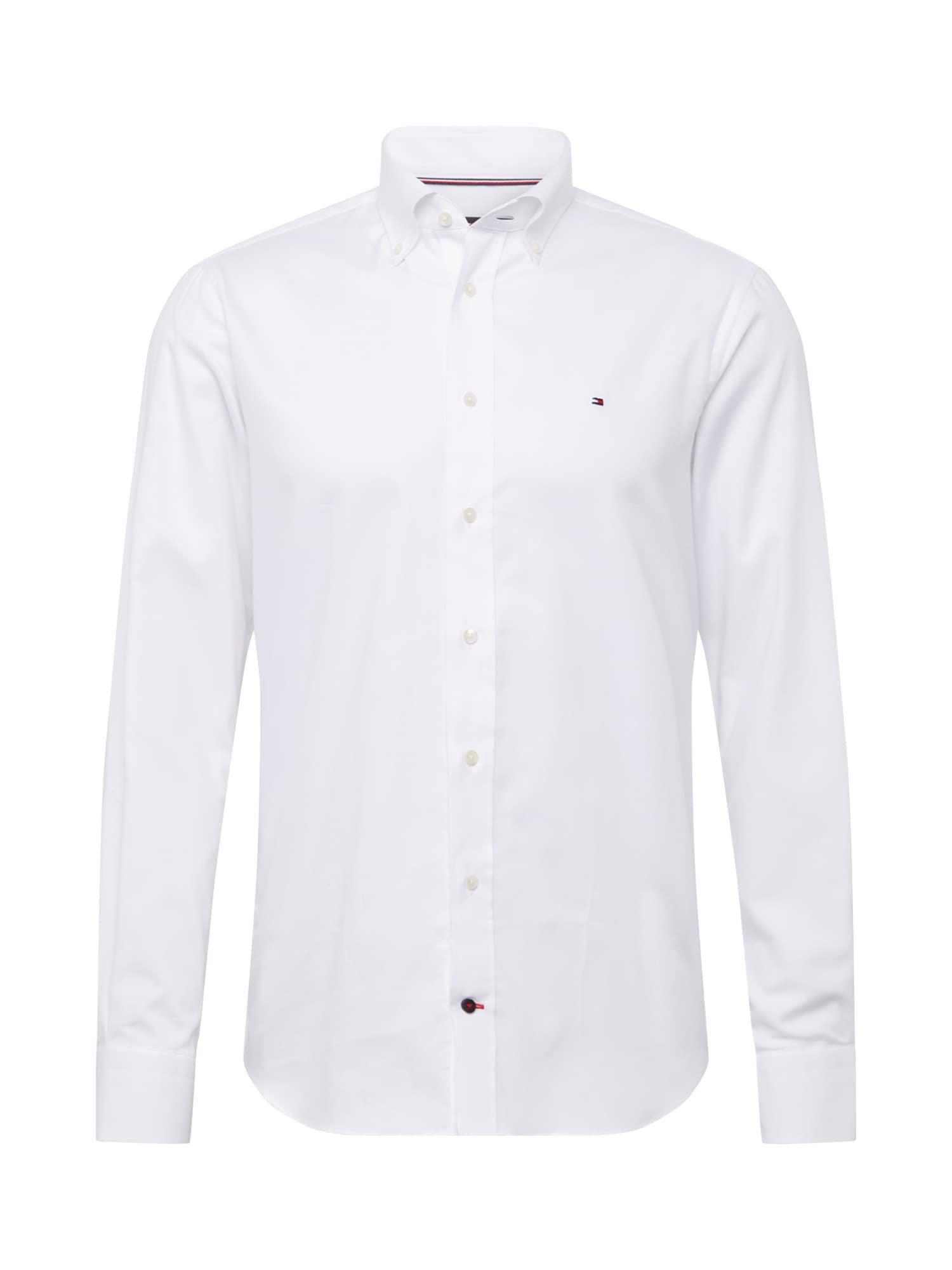 Tommy Hilfiger Tailored Košeľa 'DOBBY'  biela