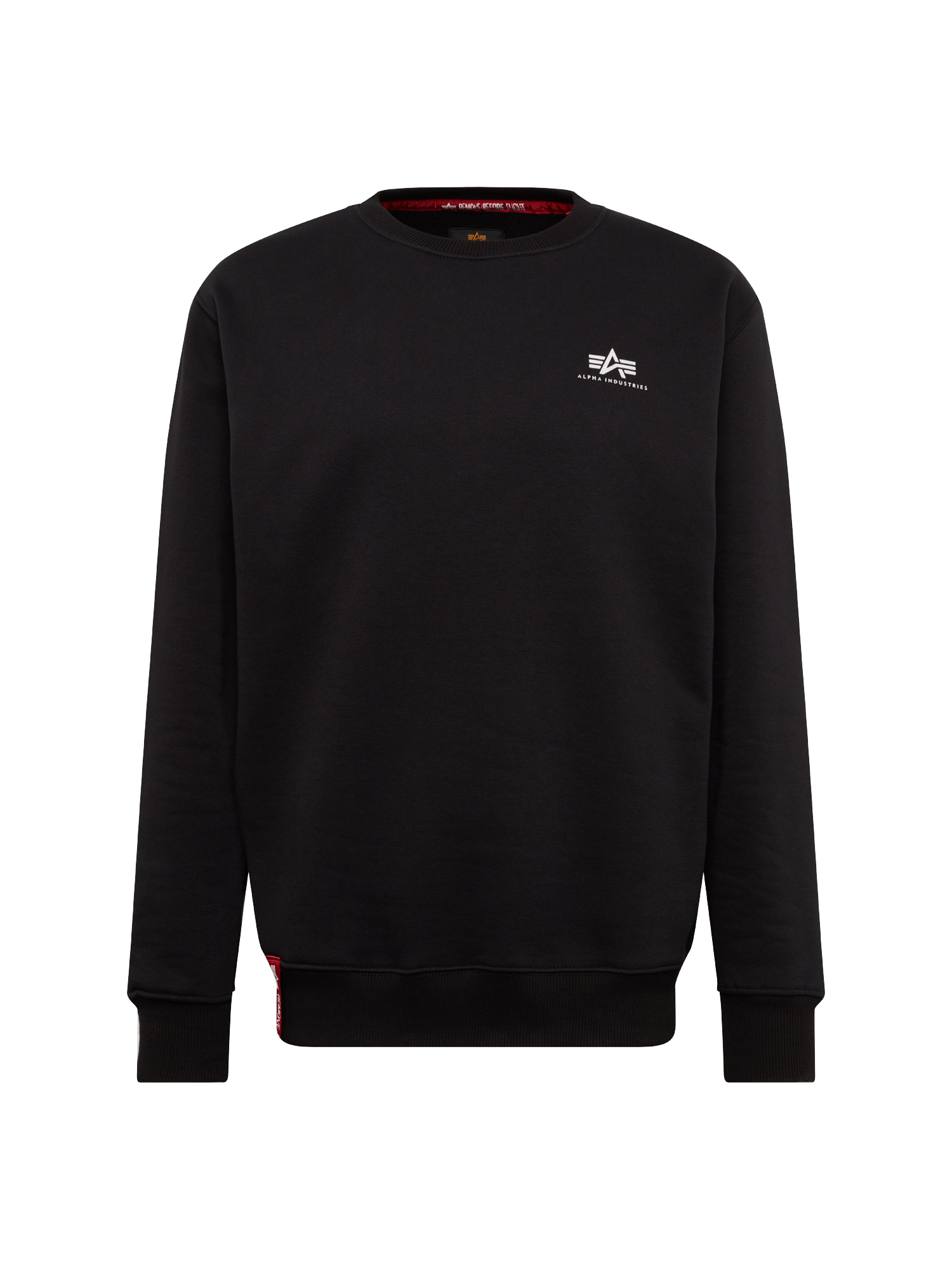 ALPHA INDUSTRIES Megztinis be užsegimo juoda / balta / raudona