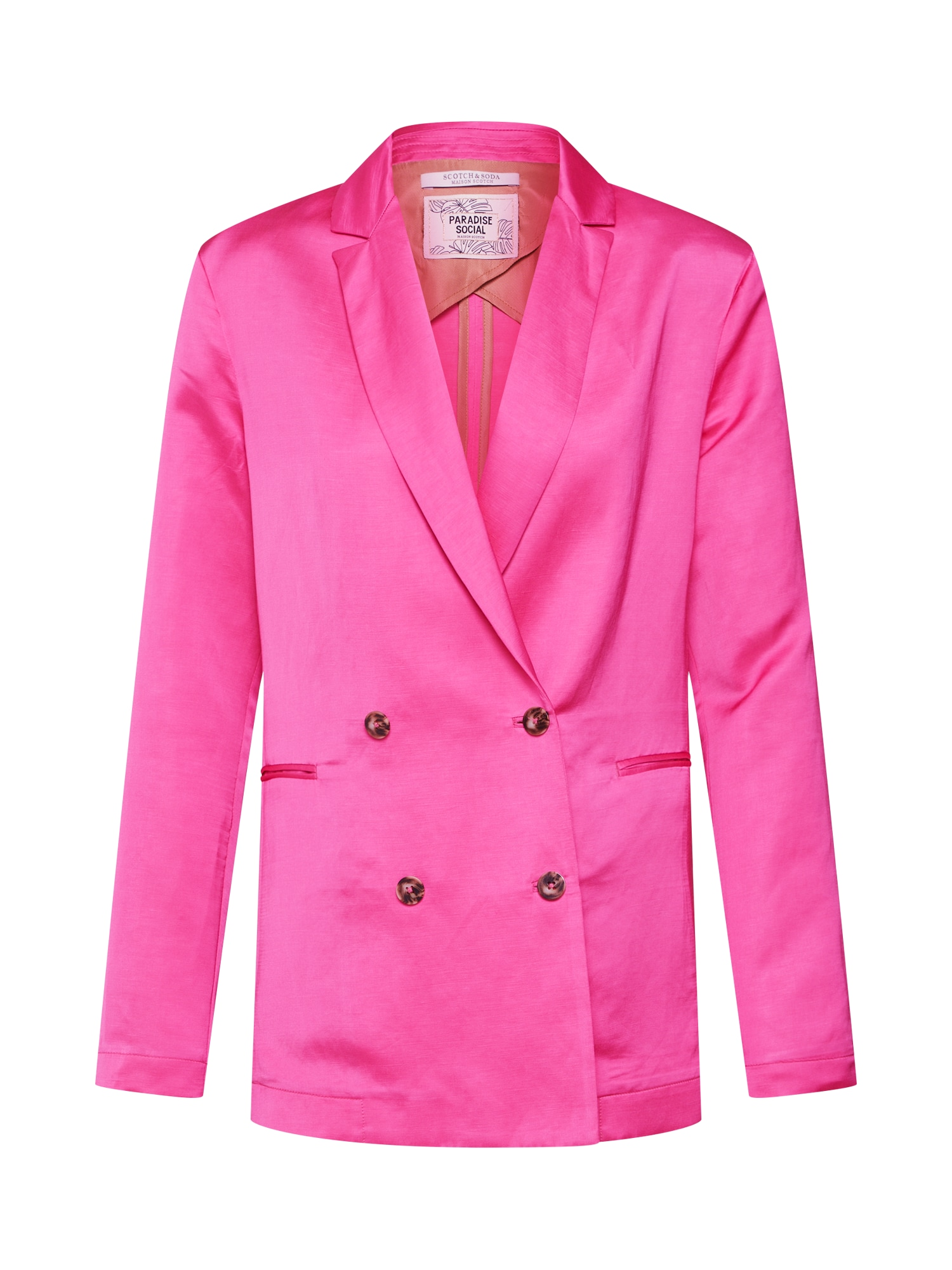 Blejzr Double breasted blazer in viscose-linen blend pink SCOTCH & SODA