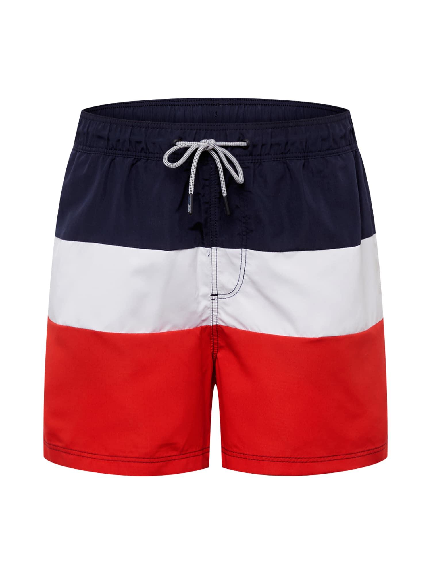 JACK & JONES Plavecké šortky 'Iaruba'  červené / námornícka modrá / biela
