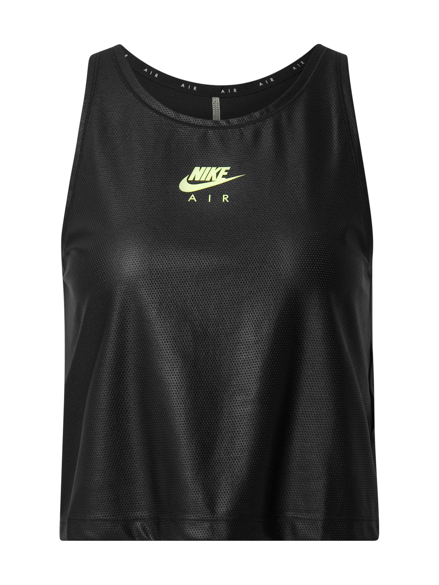 Nike Sportswear Palaidinė be rankovių 'Air' neoninė žalia / juoda