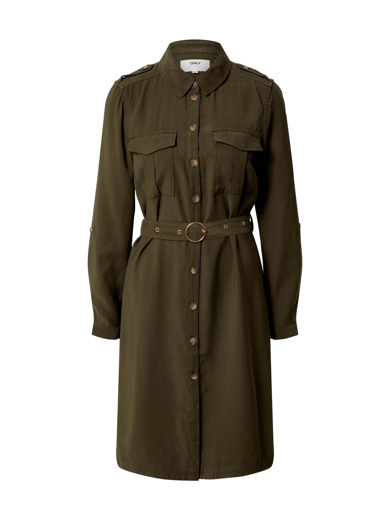 ONLY Košeľové šaty 'ONLACACIA-ARIS SHIRT DRESS PNT'  kaki
