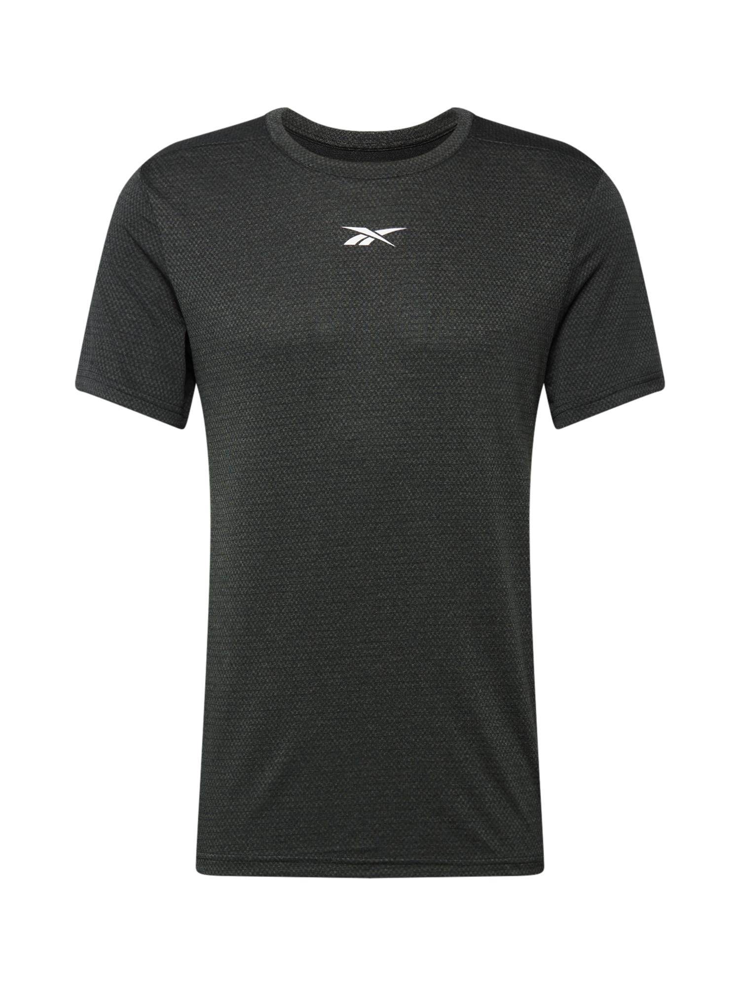 REEBOK Sportiniai marškinėliai balta / margai juoda