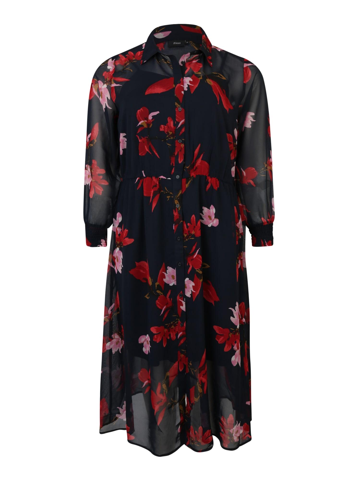 Zizzi Košeľové šaty 'MSUDDA'  červené / čierna