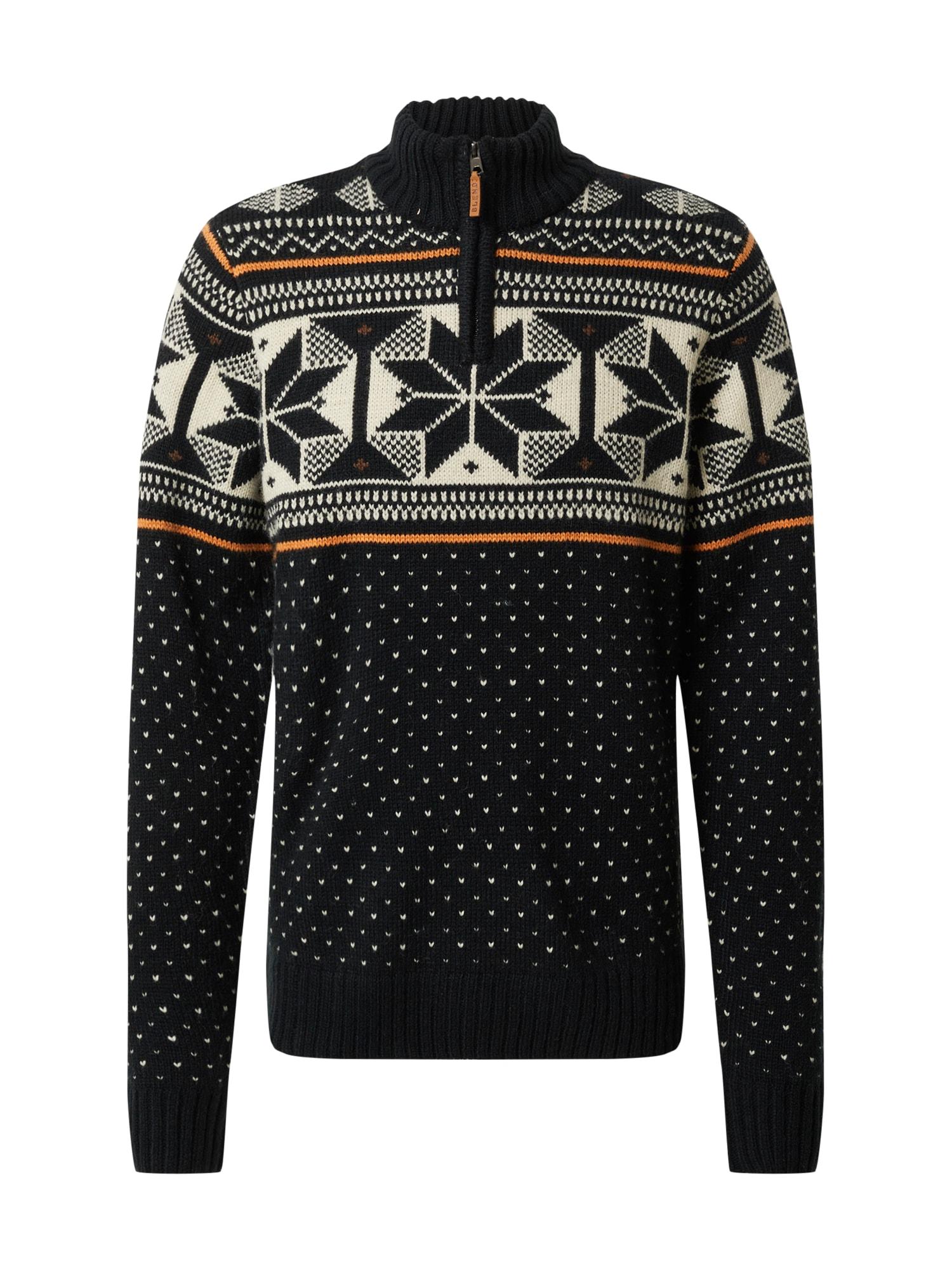 BLEND Megztinis juoda / balta / oranžinė