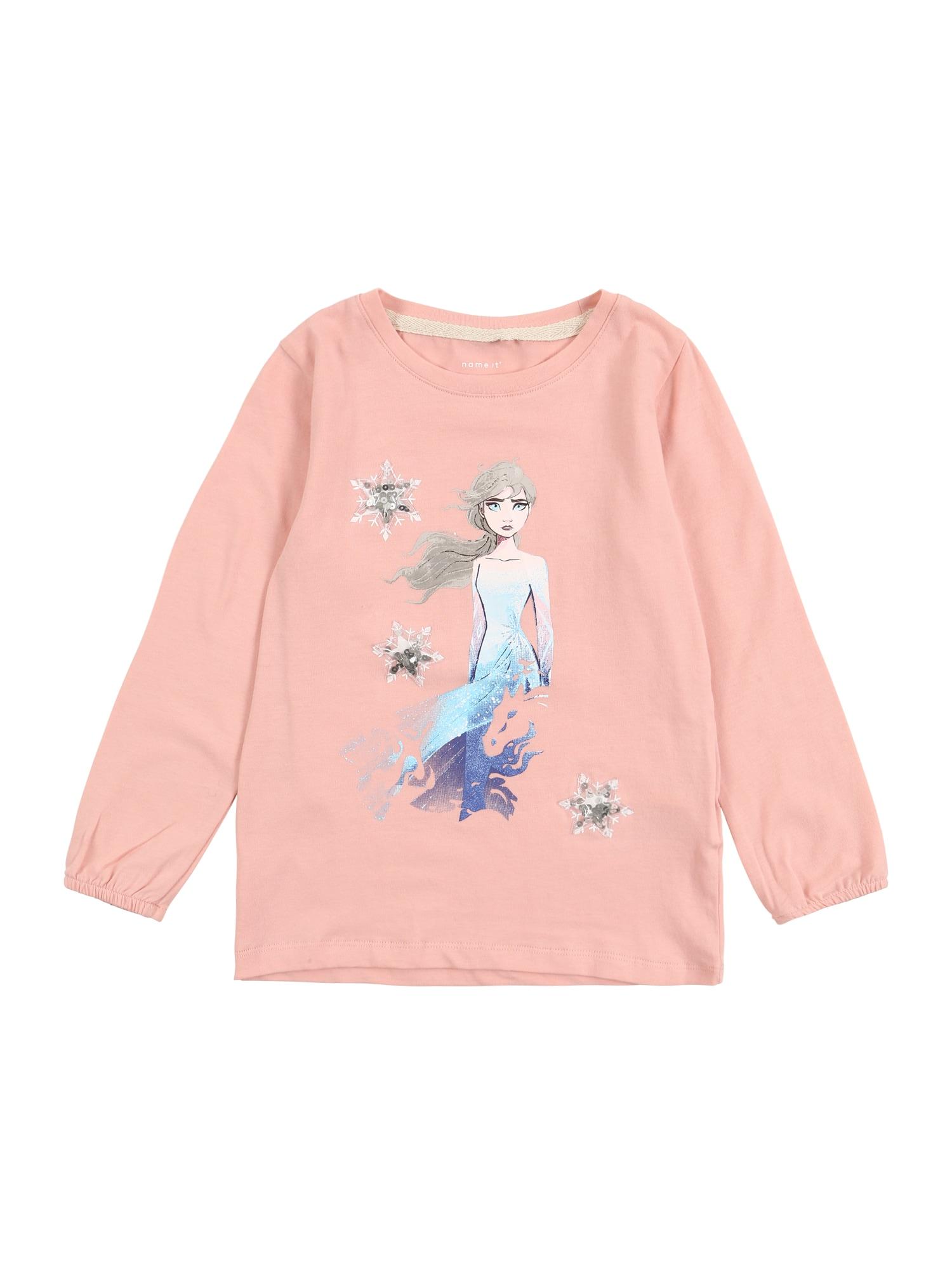 NAME IT Marškinėliai 'Die Eiskönigin' mišrios spalvos / šviesiai rožinė