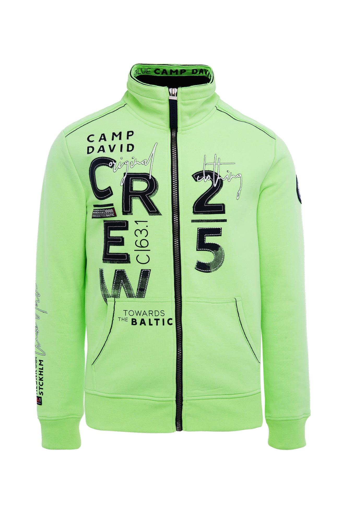 Mikina s kapucí svítivě zelená černá bílá CAMP DAVID