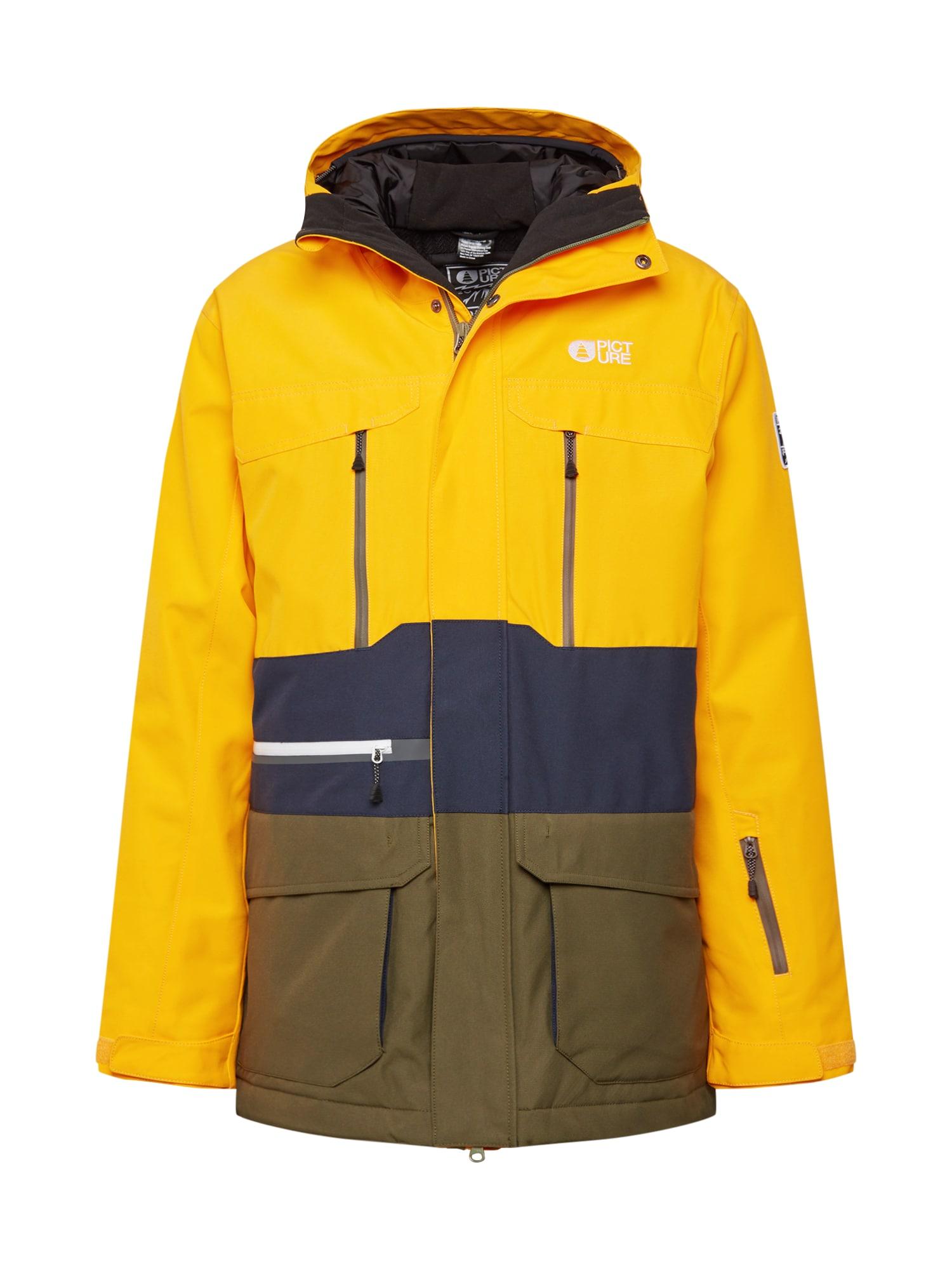 Picture Organic Clothing Laisvalaikio striukė aukso geltonumo spalva / tamsiai mėlyna / alyvuogių spalva