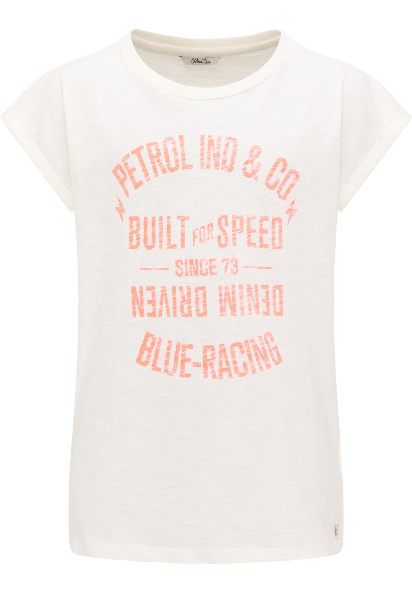 Petrol Industries Marškinėliai balta / oranžinė