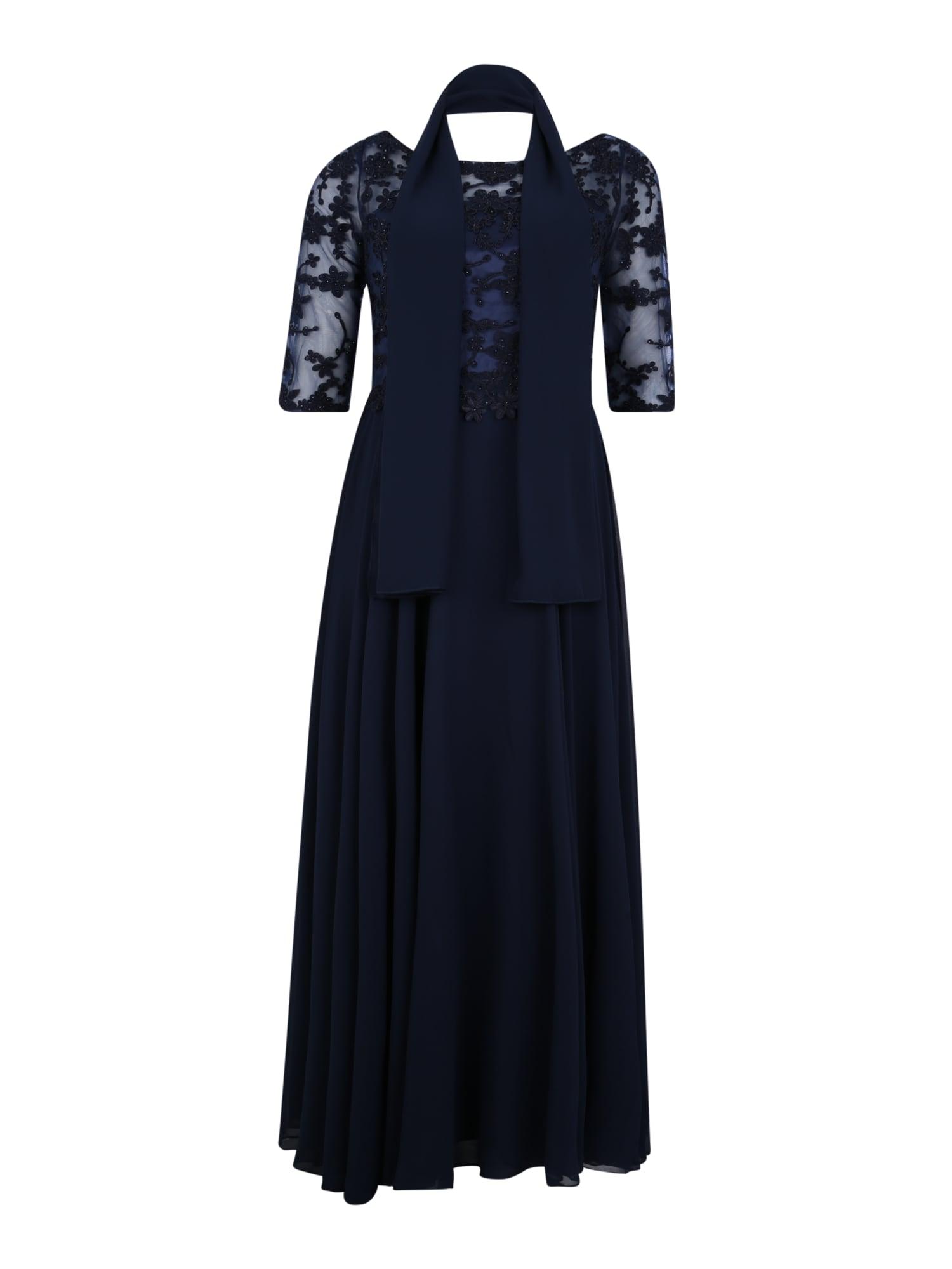 My Mascara Curves Večerné šaty 'EMB SLEEVE'  námornícka modrá