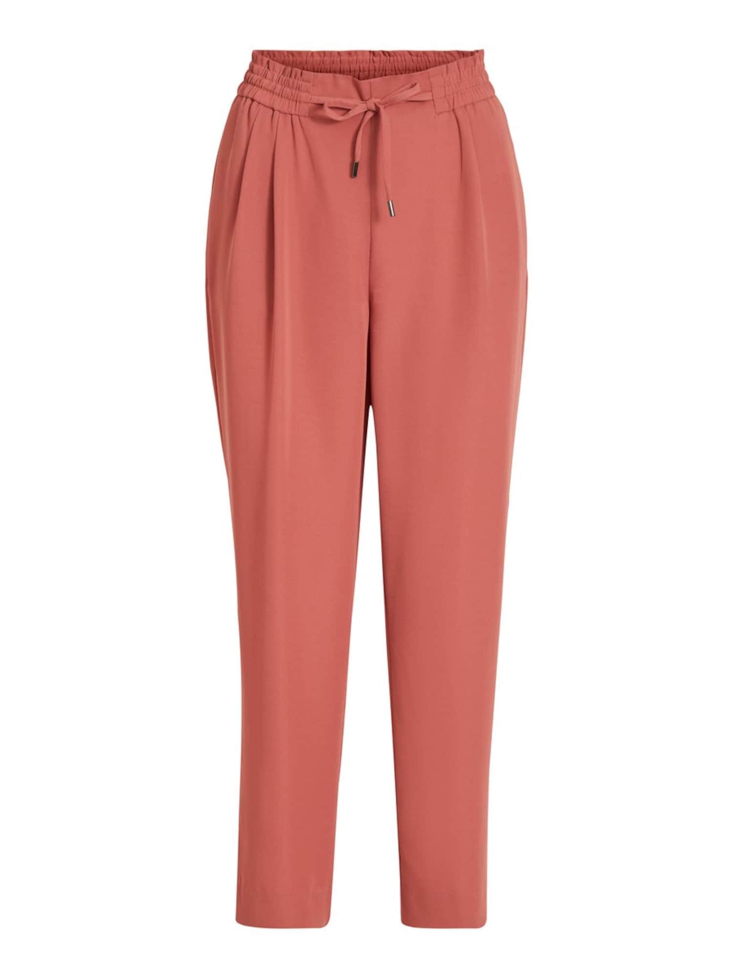 VILA Plisované nohavice  hrdzavo červená