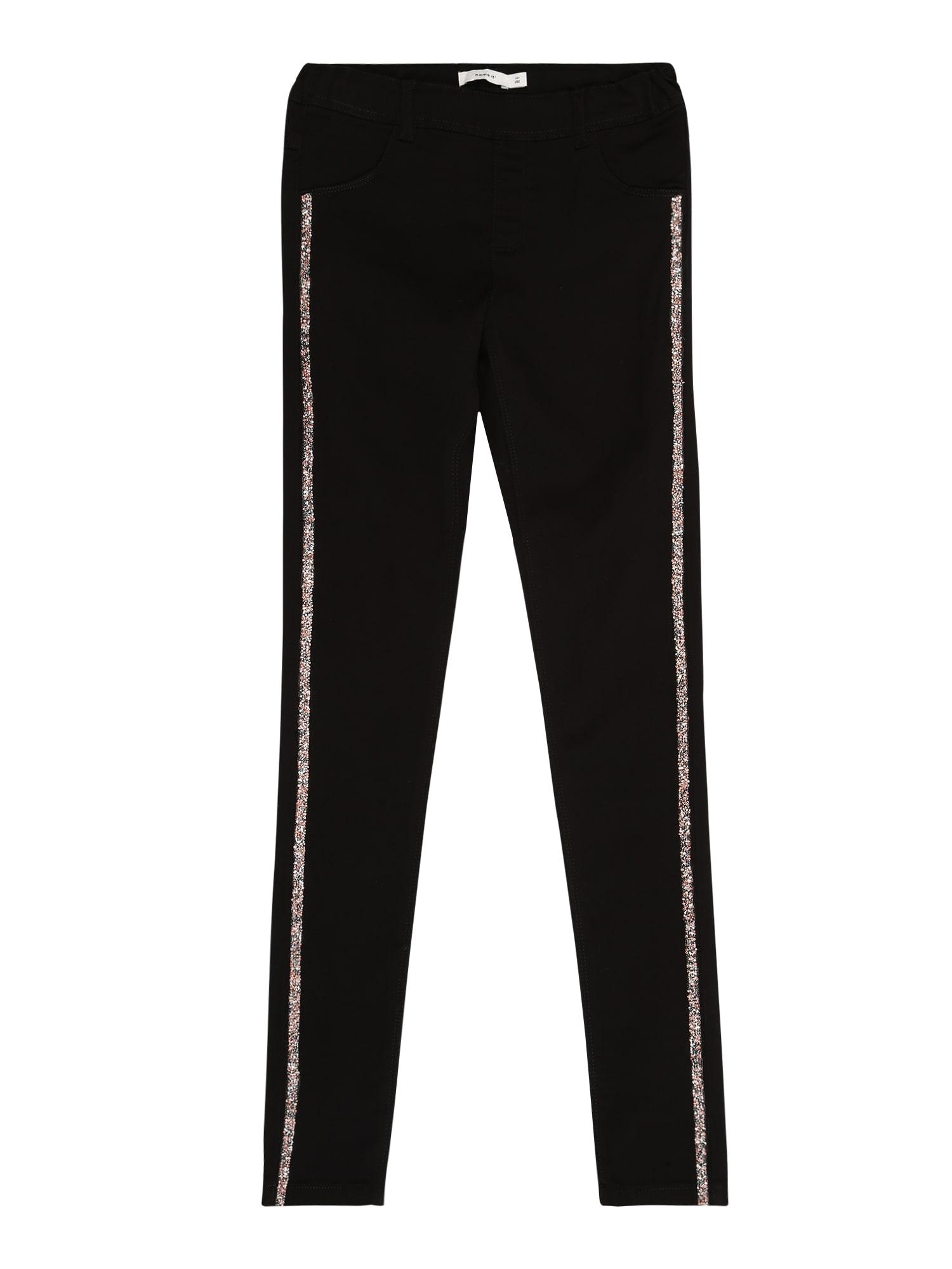 NAME IT Nohavice  svetloružová / čierna denim