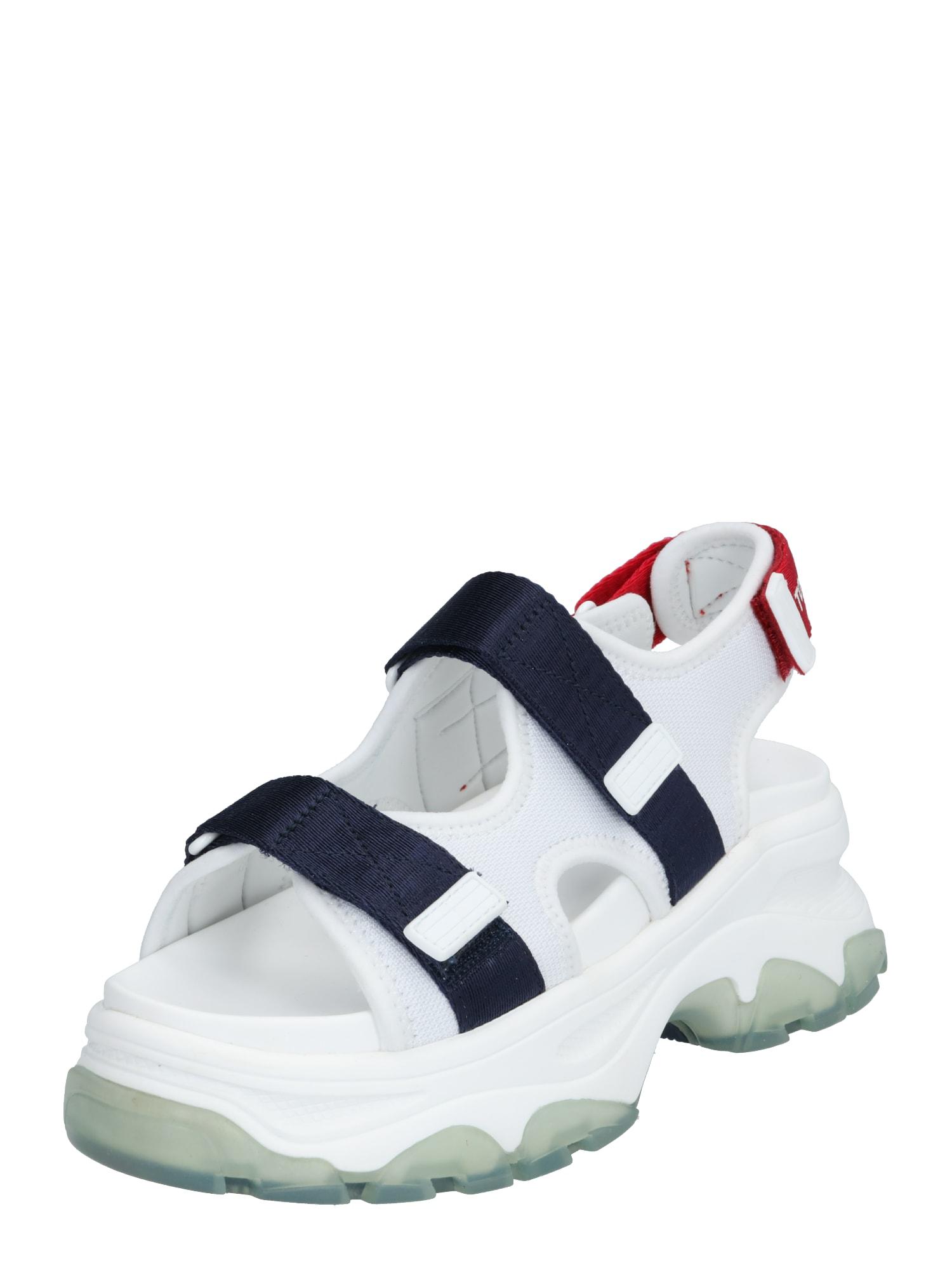 Tommy Jeans Sportinio tipo sandalai 'CHUNKY' raudona / balta / tamsiai mėlyna