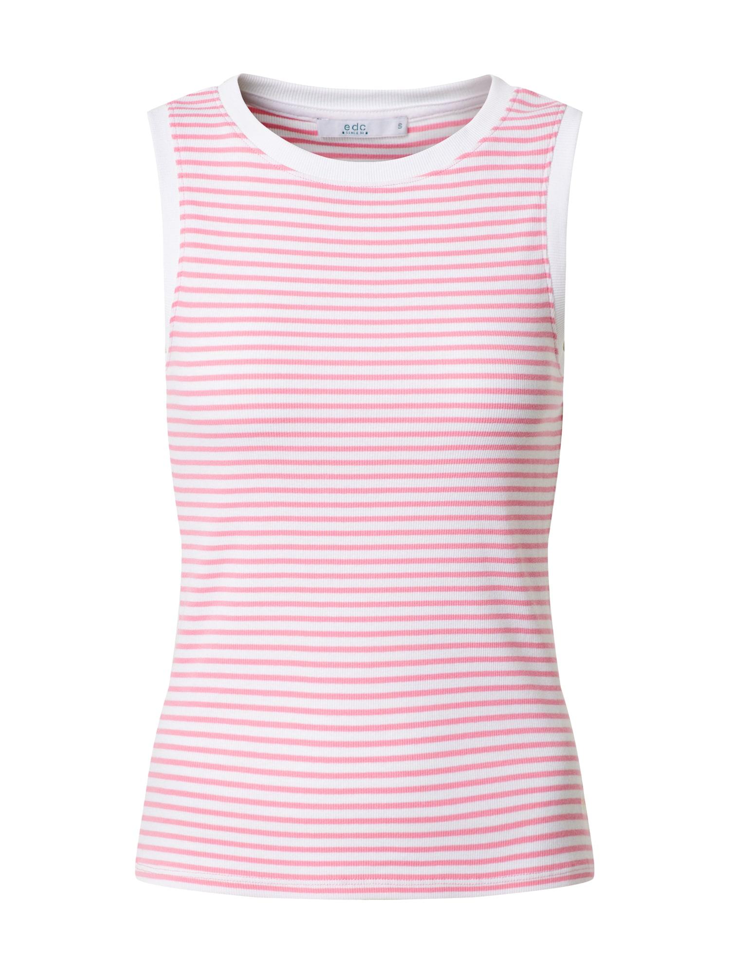 EDC BY ESPRIT Palaidinė be rankovių 'Stripe Rib Tank T-Shirts sleeveless' rožinė