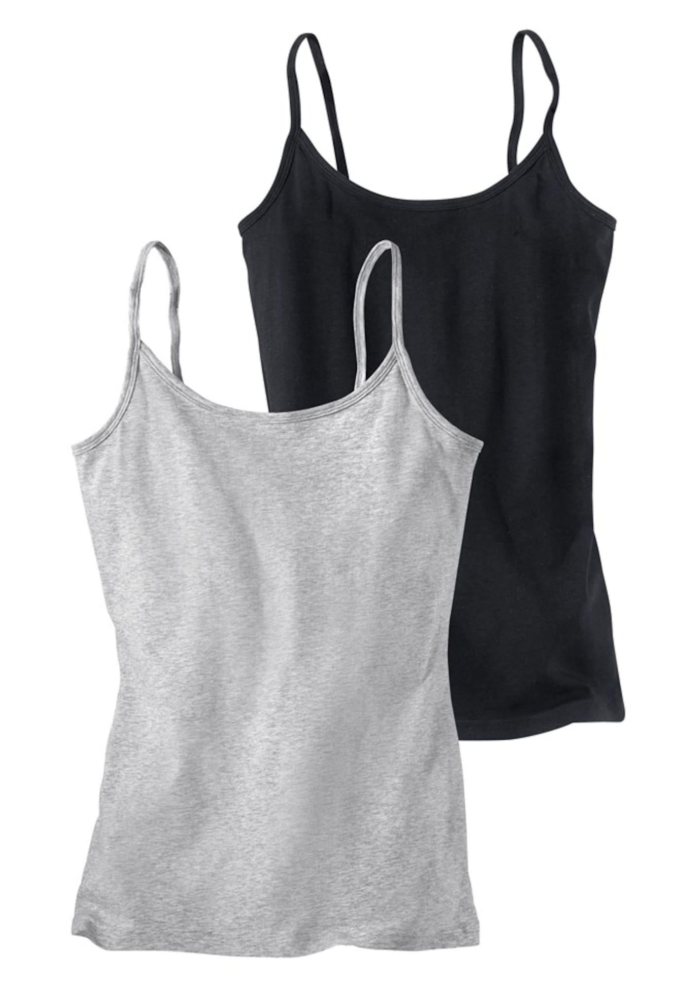 H.I.S Apatiniai marškinėliai margai pilka / juoda