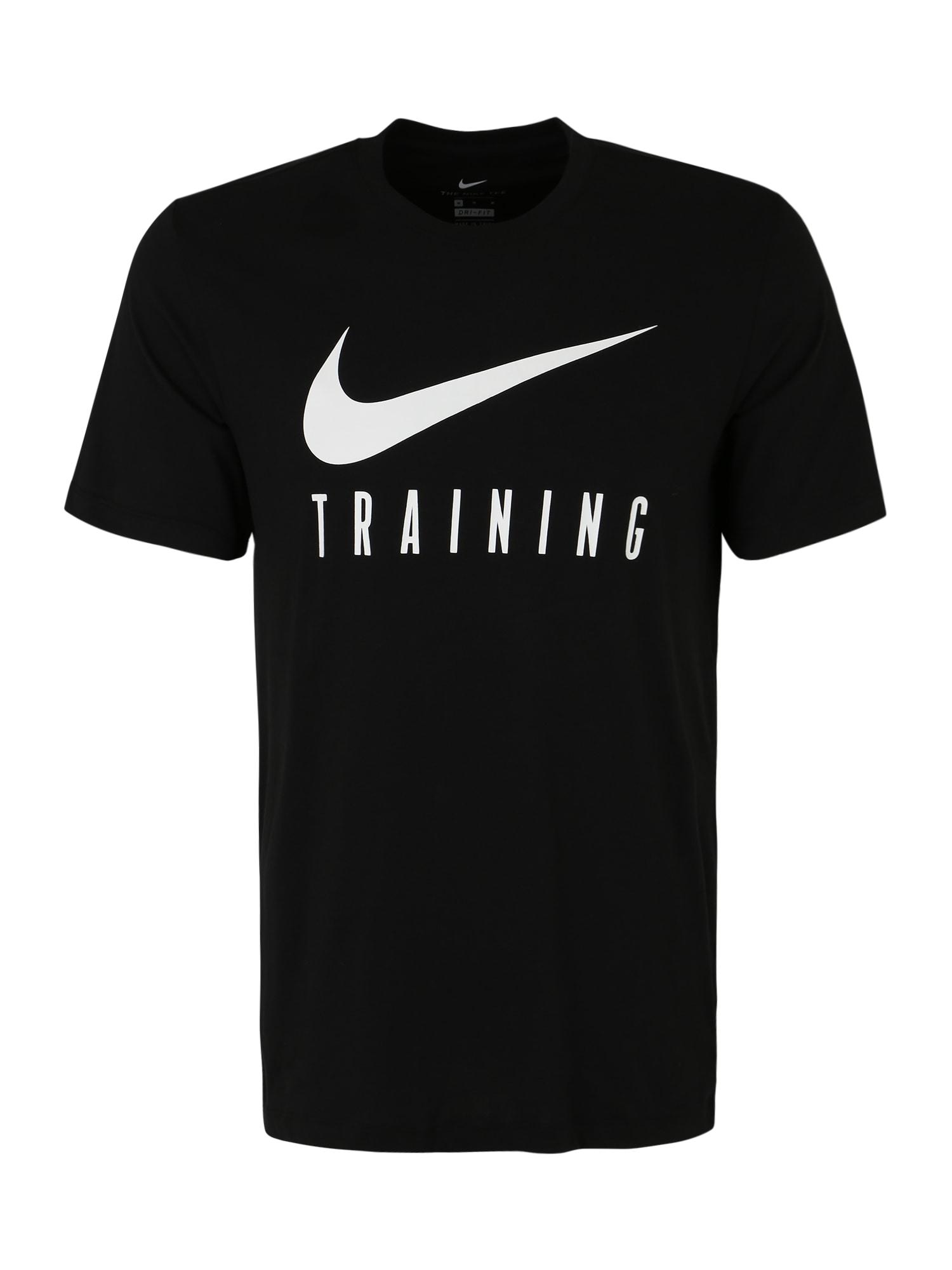 NIKE Sportiniai marškinėliai balta / juoda
