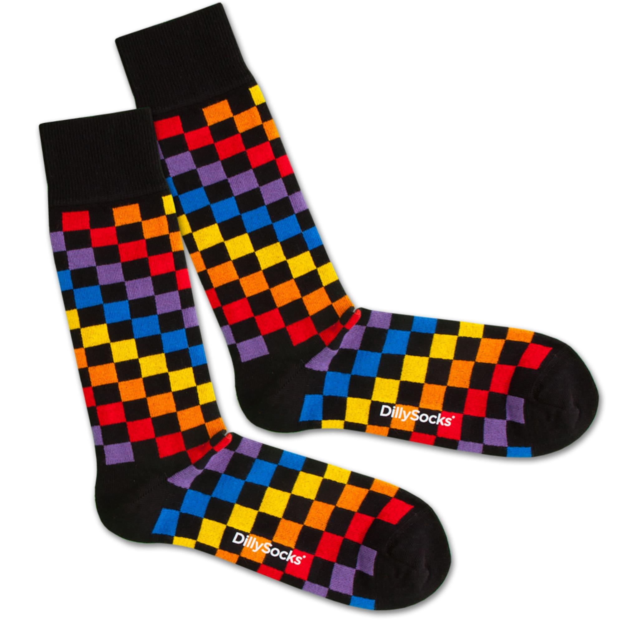 Ponožky Rainbow Chess mix barev DillySocks