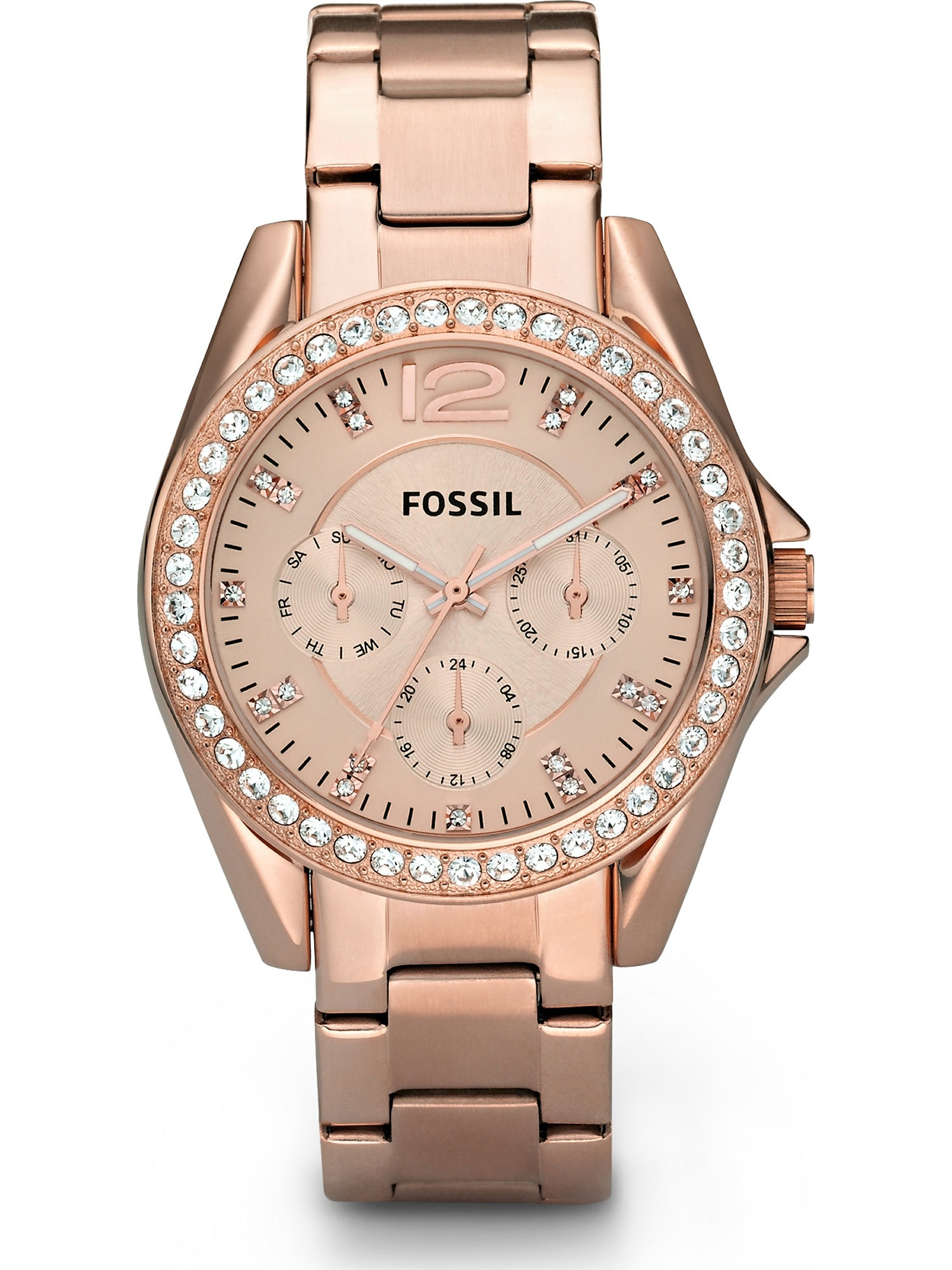 Analogové hodinky Riley růžově zlatá FOSSIL