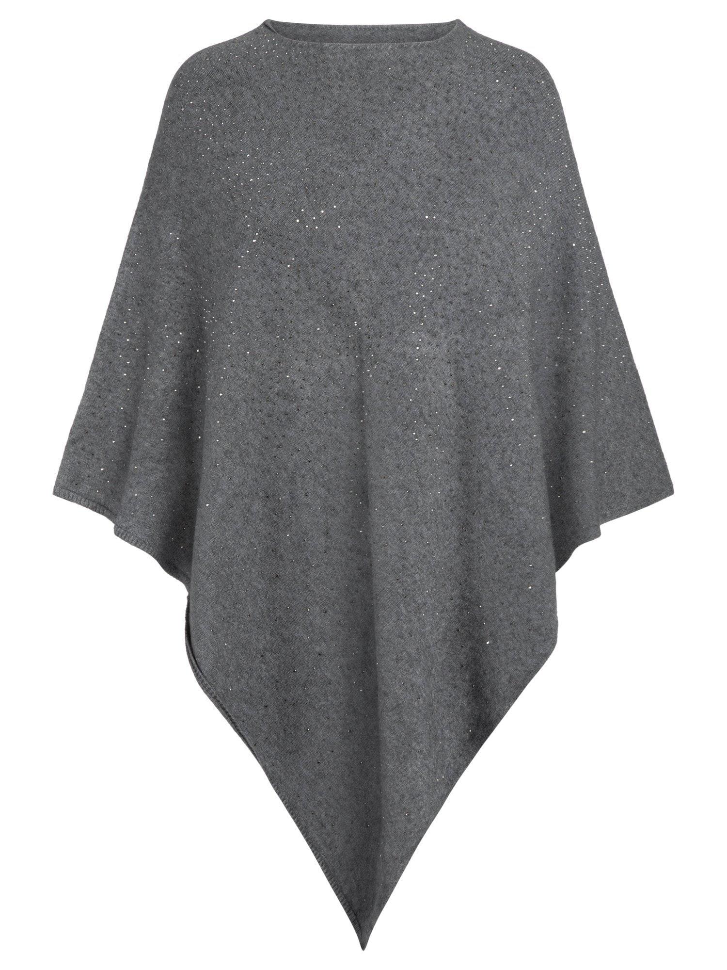 Strickponcho mit kleinen Glitzer-Applikationen | Bekleidung > Pullover > Ponchos & Capes | Apart