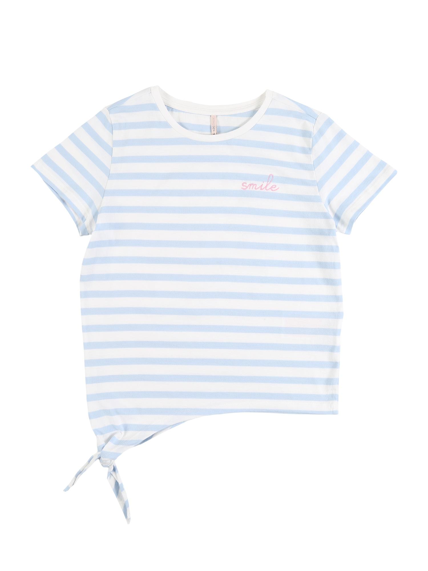 KIDS ONLY Marškinėliai 'KONBRAVE LIFE S/S KNOT TOP JRS' šviesiai mėlyna / balta