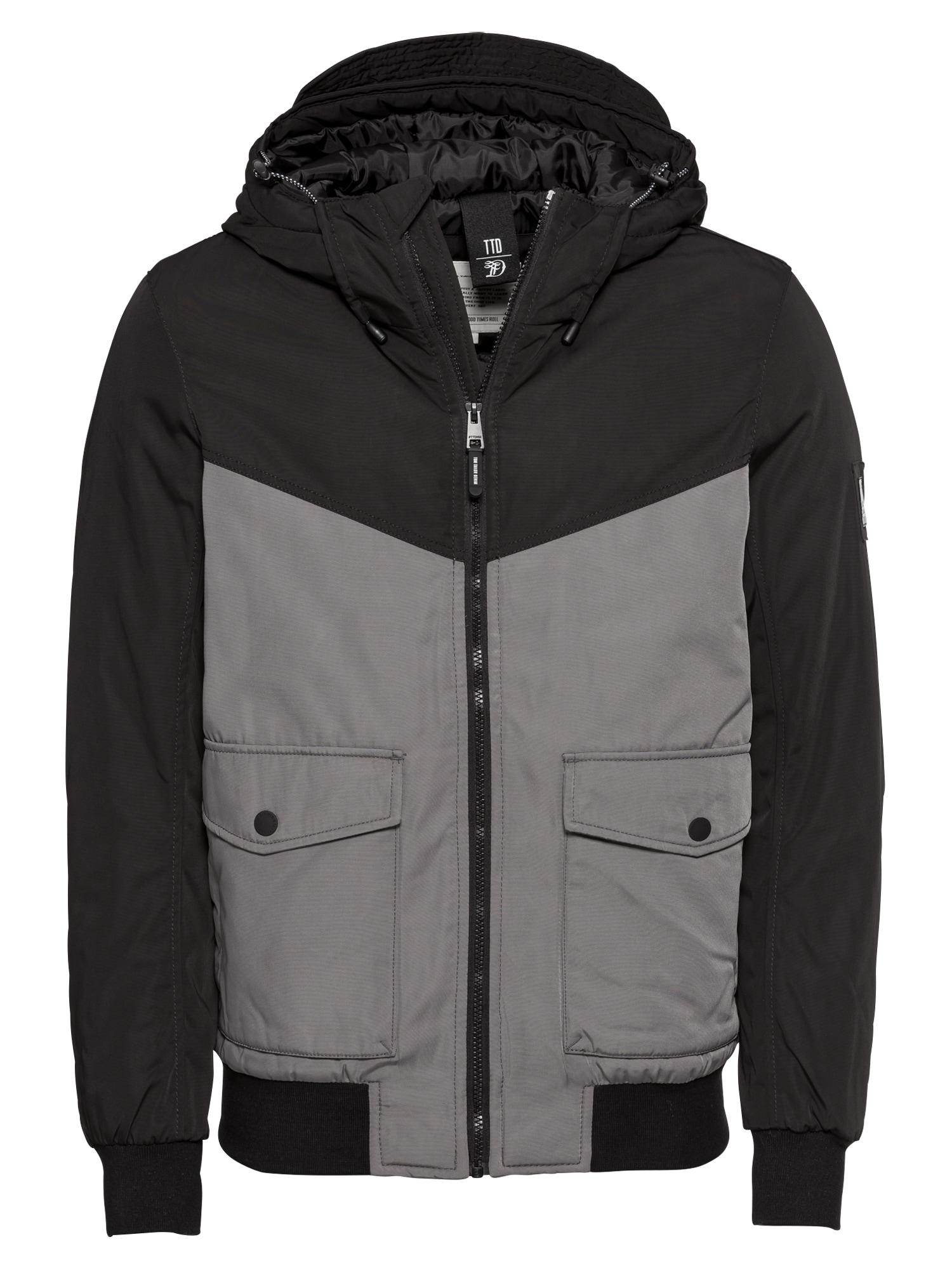 Zimní bunda šedá černá TOM TAILOR DENIM
