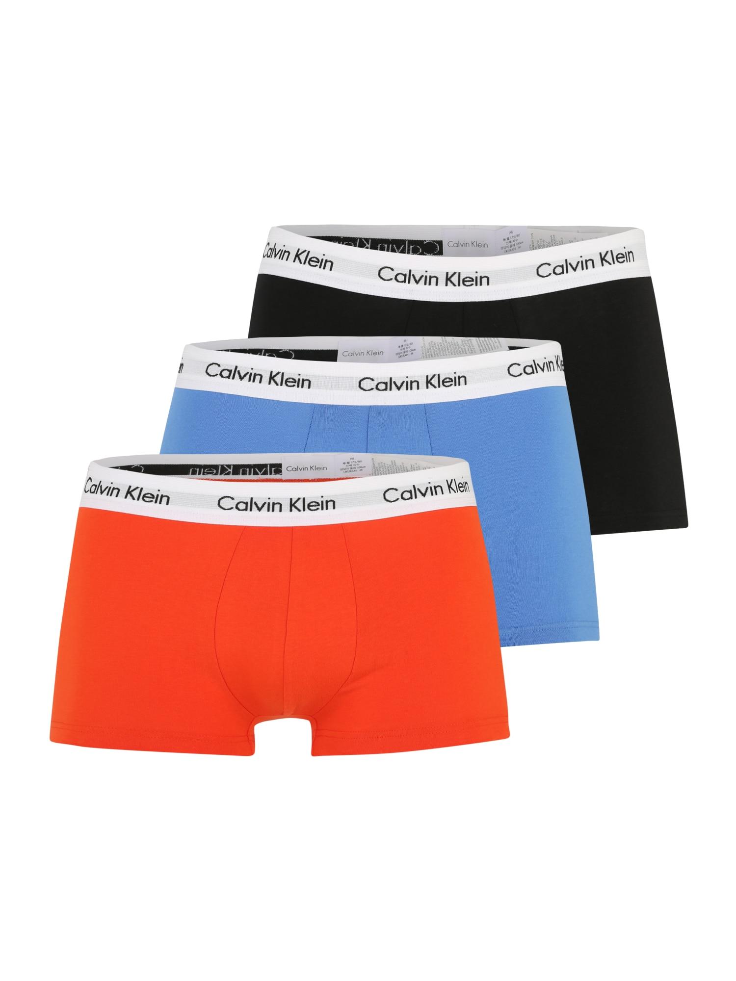 Calvin Klein Underwear Boxer trumpikės juoda / šviesiai mėlyna / tamsiai oranžinė