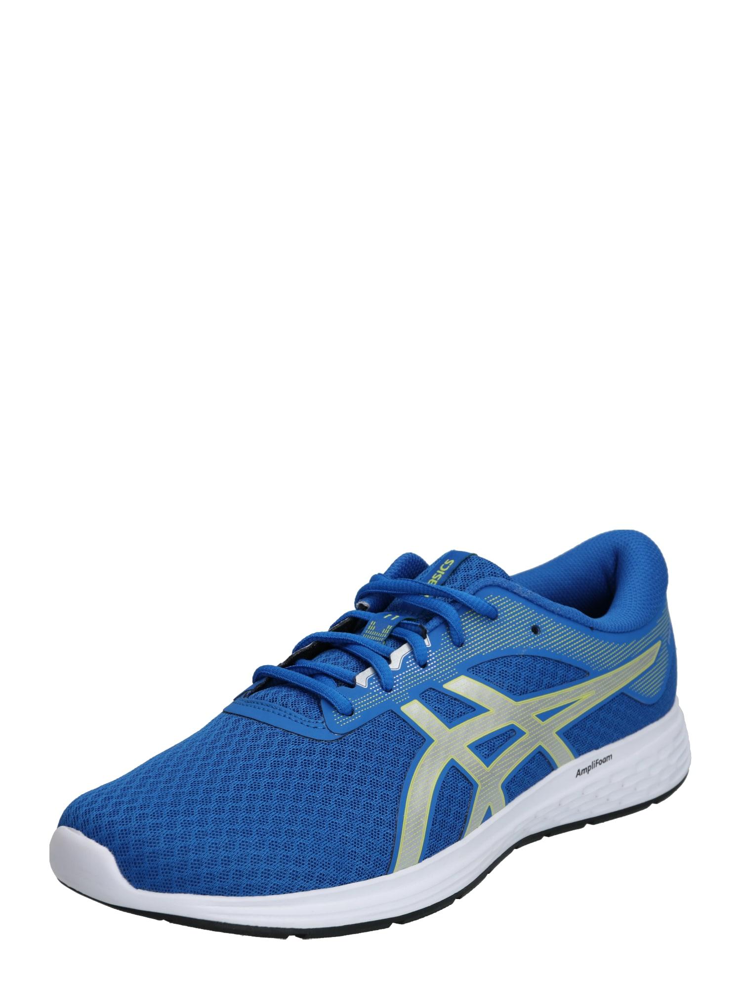 ASICS Bėgimo batai 'PATRIOT 11' žaliosios citrinos spalva / mėlyna / sidabras