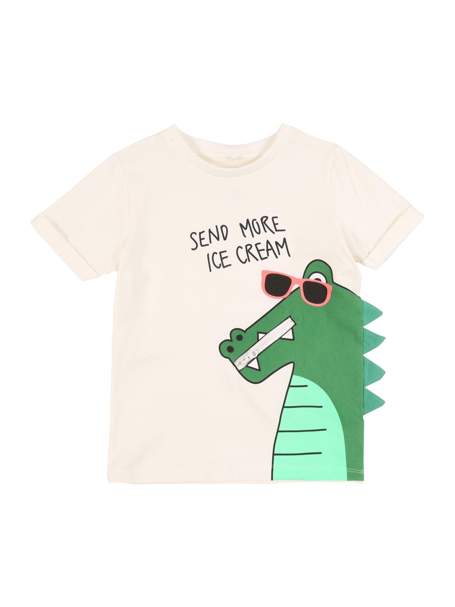 NAME IT Marškinėliai kremo / smėlio / žalia