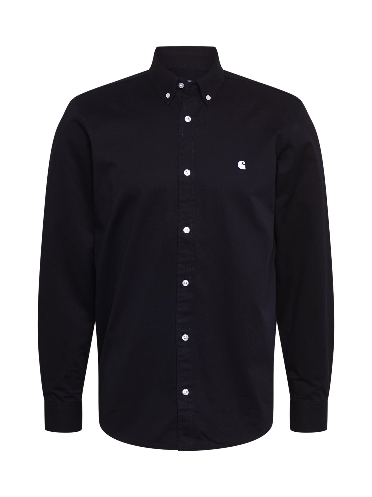 Carhartt WIP Dalykiniai marškiniai 'Madison' juoda / balta