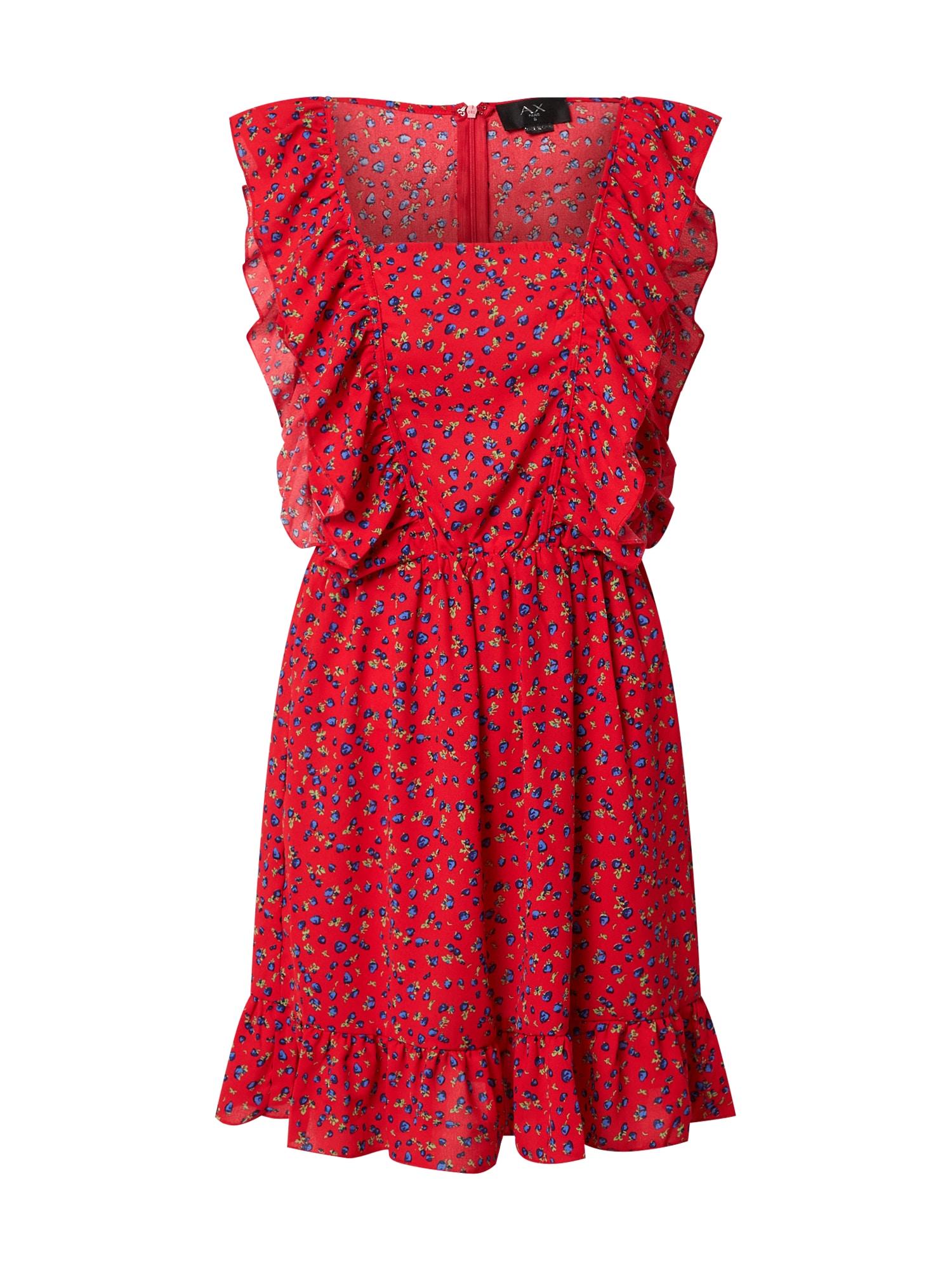 """AX Paris Vasarinė suknelė ugnies raudona / sodri mėlyna (""""karališka"""") / pastelinė žalia"""