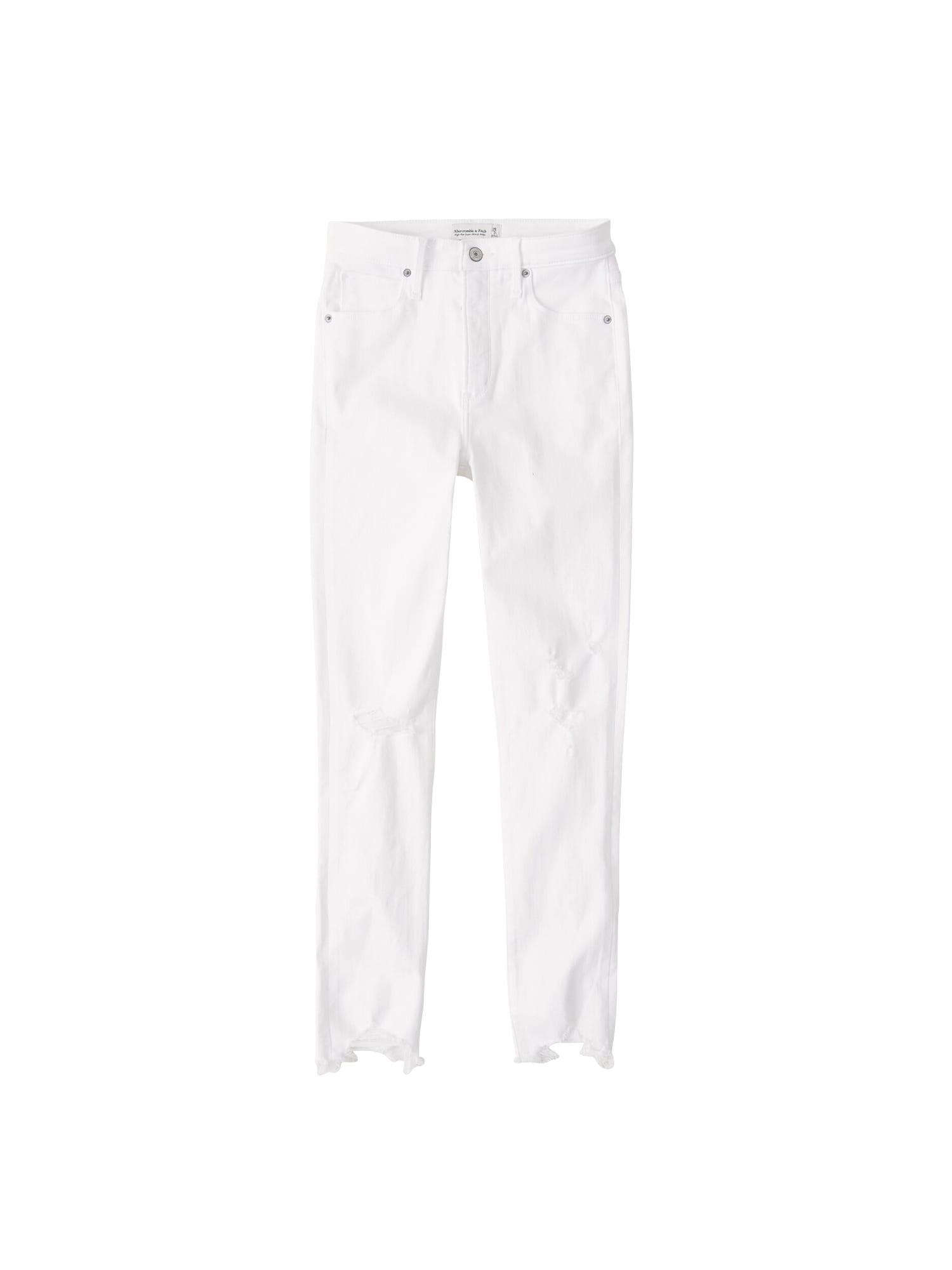 Abercrombie & Fitch Džinsai 'BRAIDED BELT HIGH RISE ANKLE JEANS' balto džinso spalva