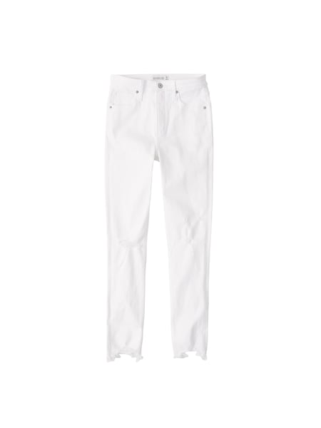Hosen - Jeans 'BRAIDED BELT HIGH RISE ANKLE JEANS' › Abercrombie Fitch › white denim  - Onlineshop ABOUT YOU