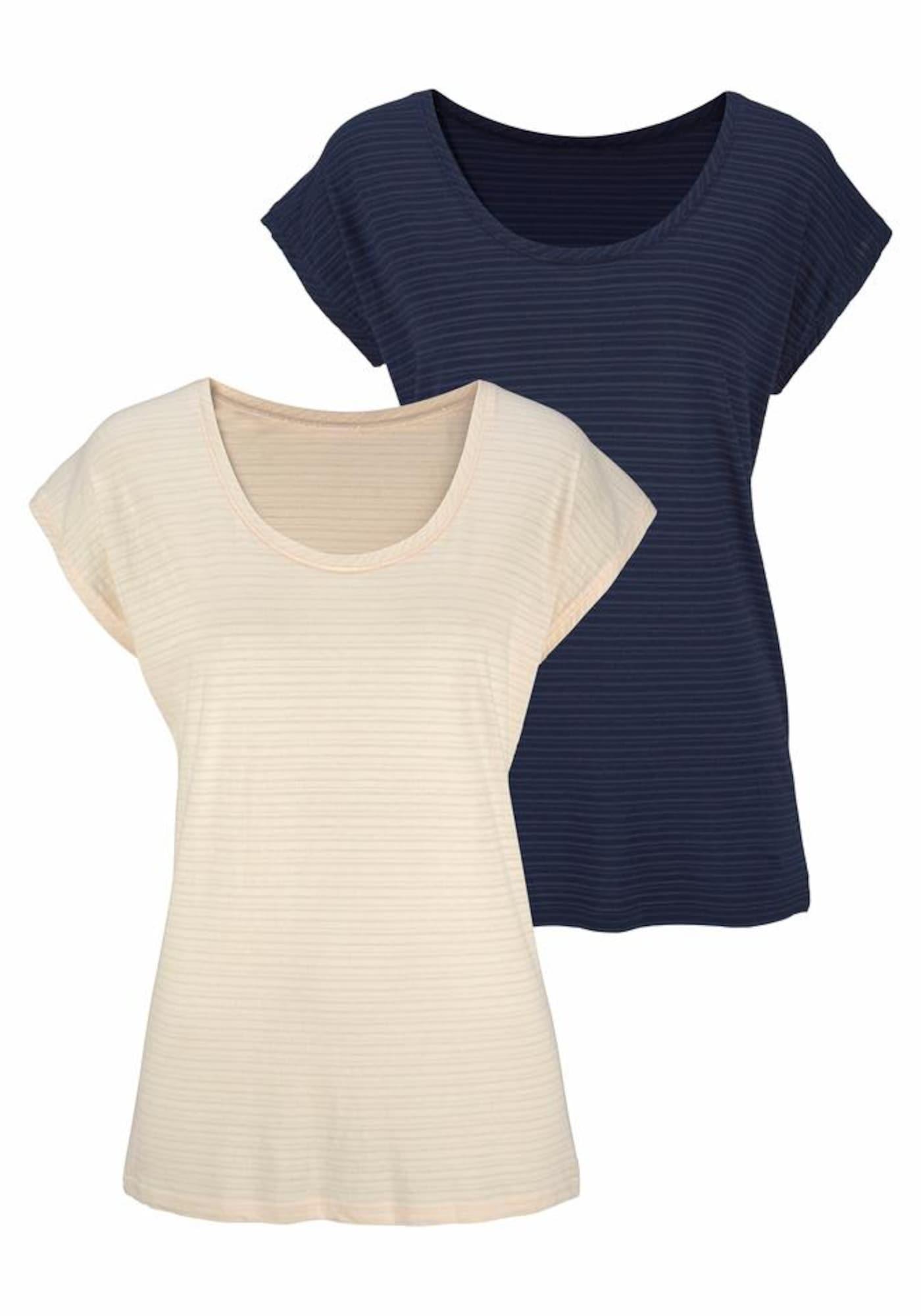 BEACH TIME Marškinėliai smėlio spalva / tamsiai mėlyna jūros spalva