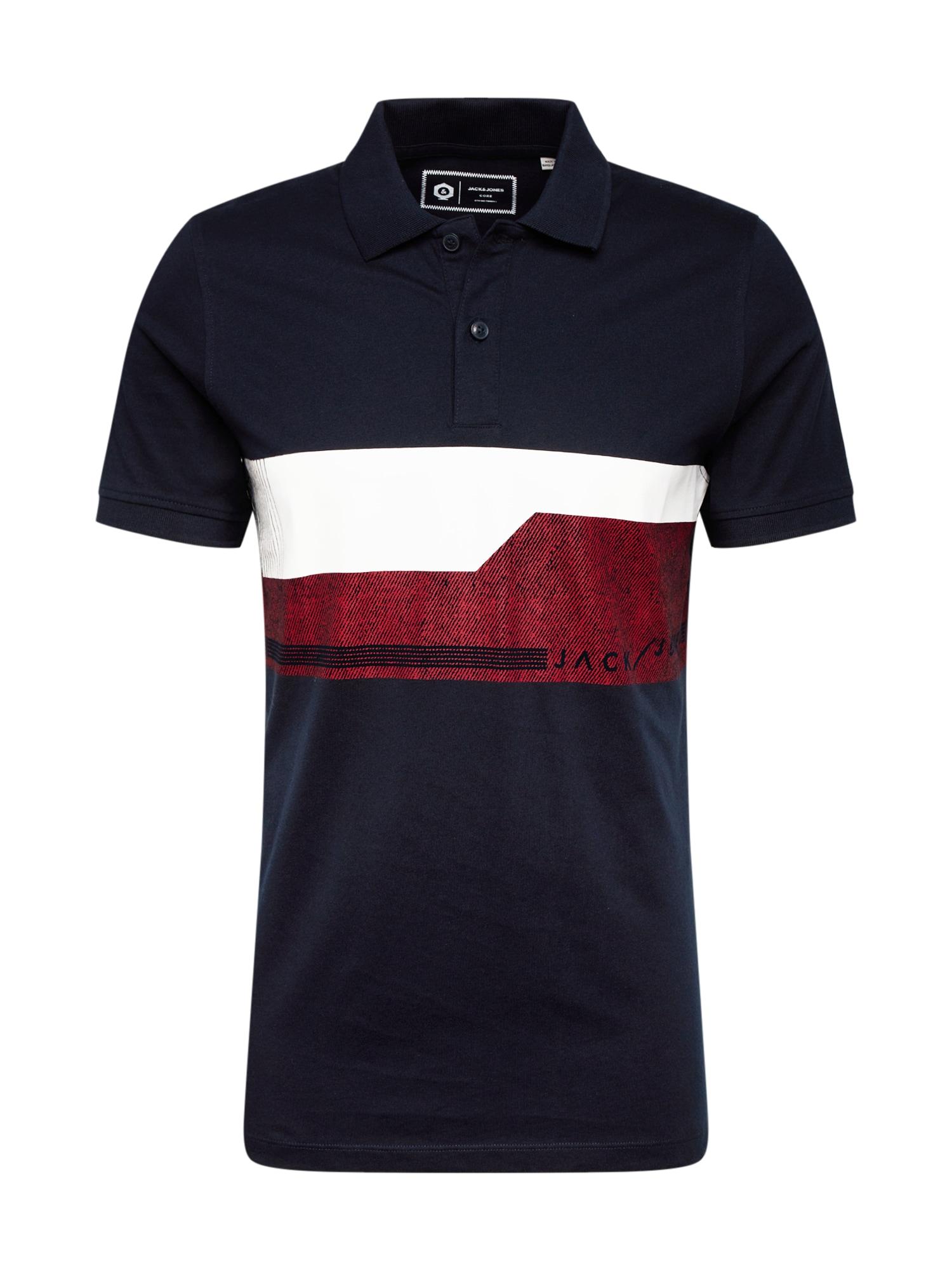 JACK & JONES Tričko 'MONACO'  tmavomodrá / biela / tmavo červené