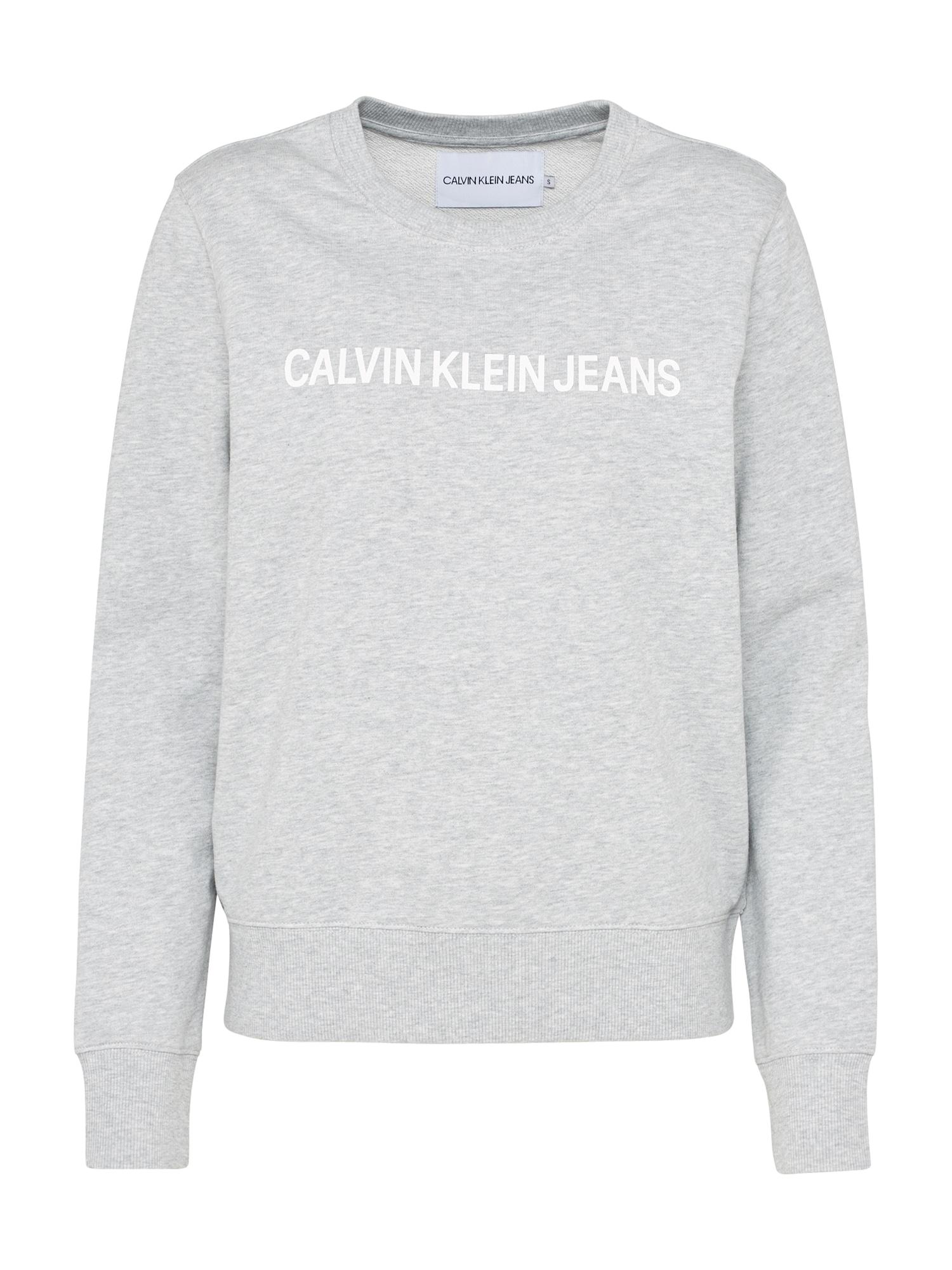 Calvin Klein Jeans Megztinis be užsegimo margai pilka / balta
