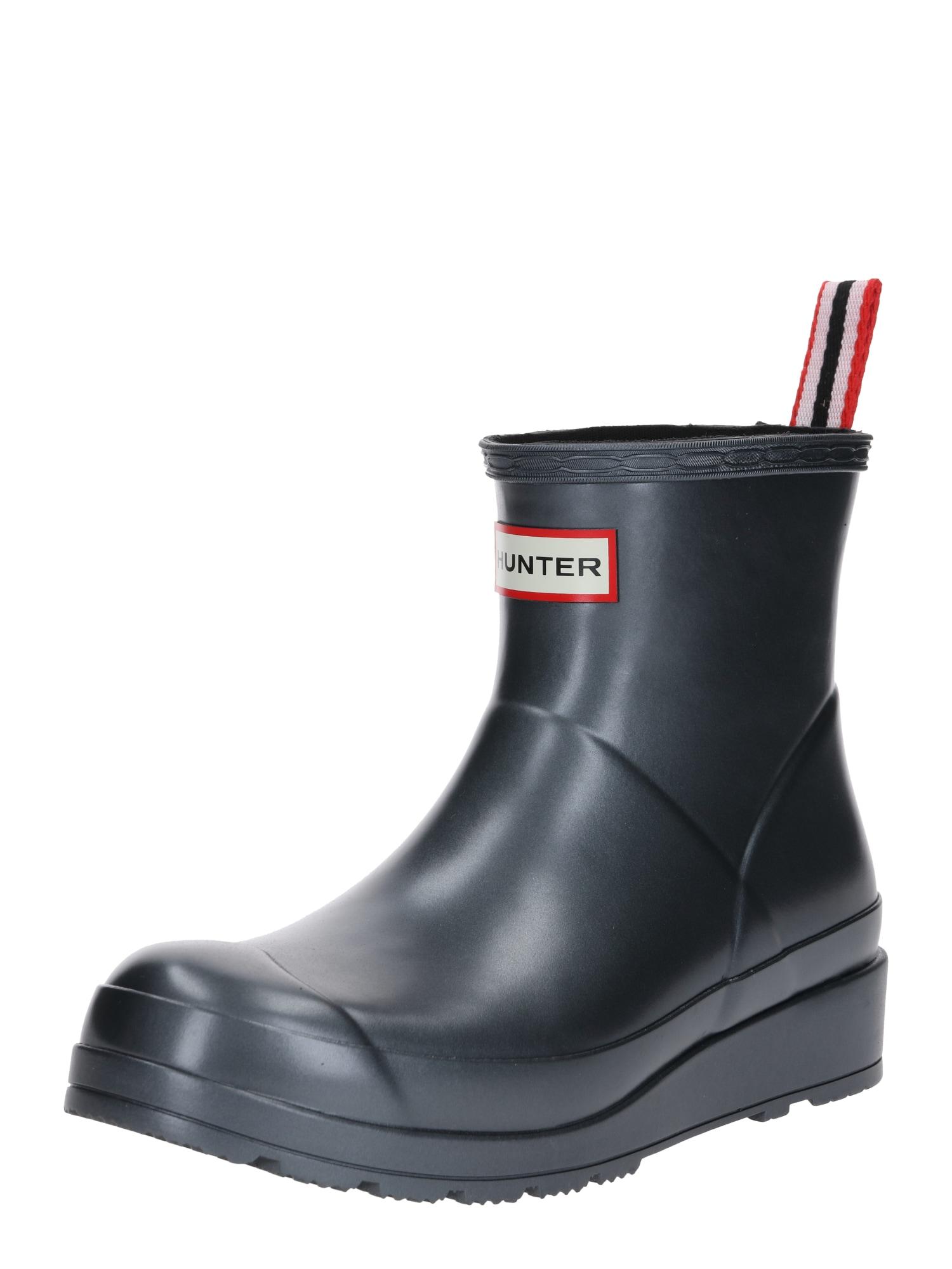 HUNTER Guminiai batai juoda / sidabrinė