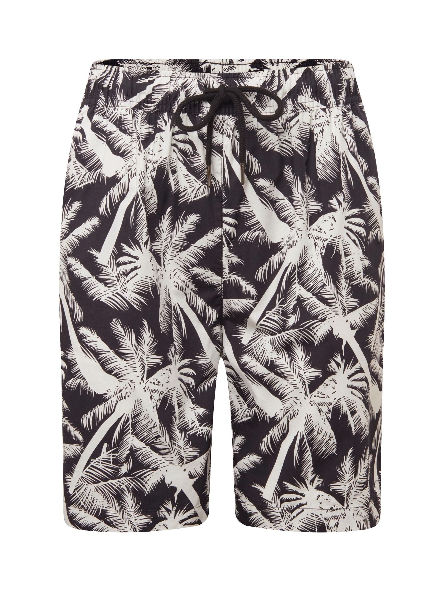 Urban Classics Pantaloni 'Pattern Resort'  negru / alb