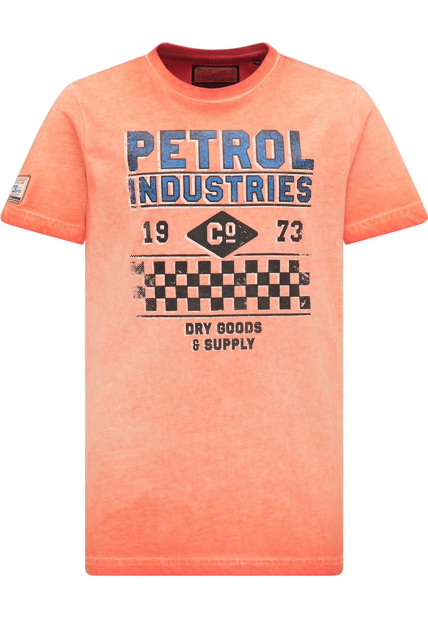 Petrol Industries Marškinėliai abrikosų spalva / mėlyna / juoda