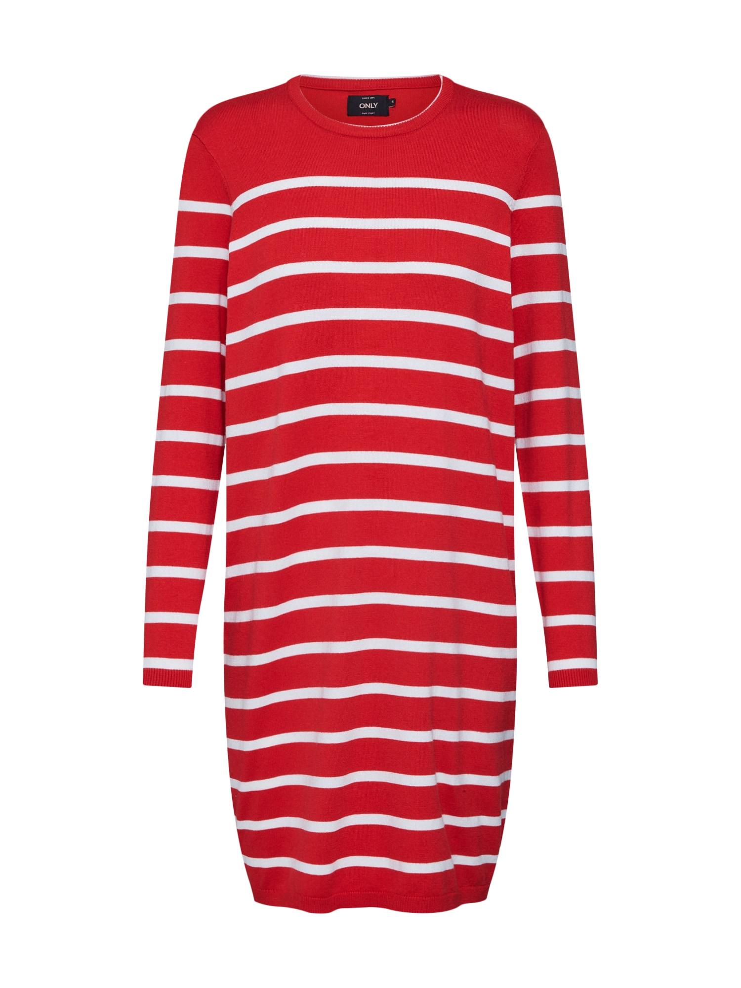 Šaty onlAYO LS DRESS KNT červená bílá ONLY