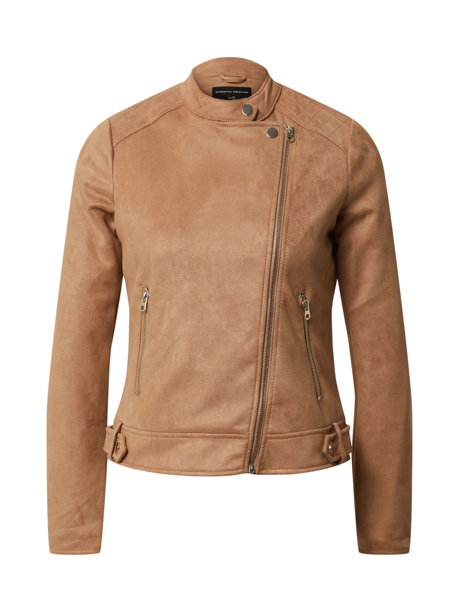 Dorothy Perkins Demisezoninė striukė 'Tan Suedette Collarless Jacket' ruda