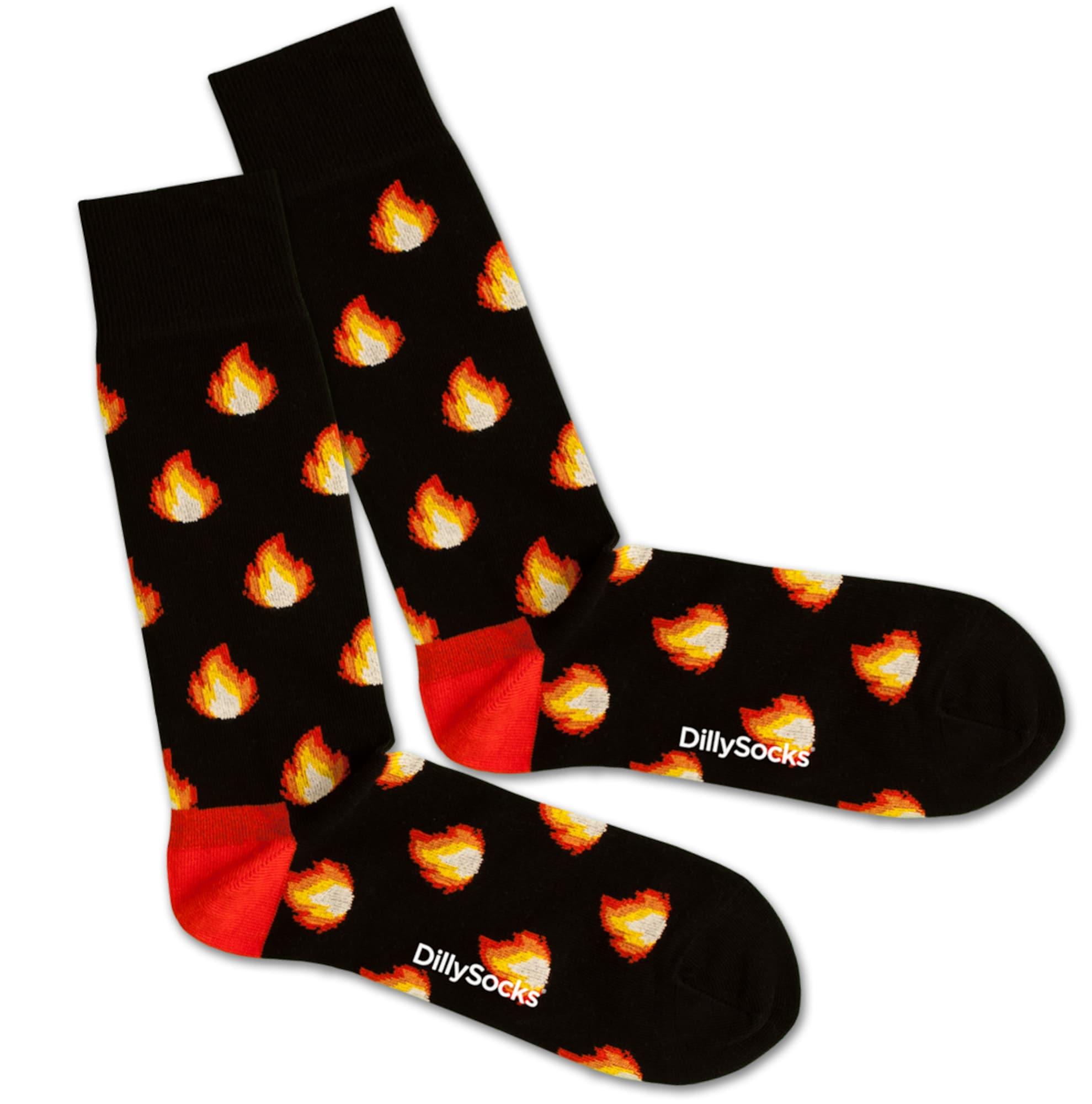 Ponožky Fire Flames žlutá červená černá DillySocks
