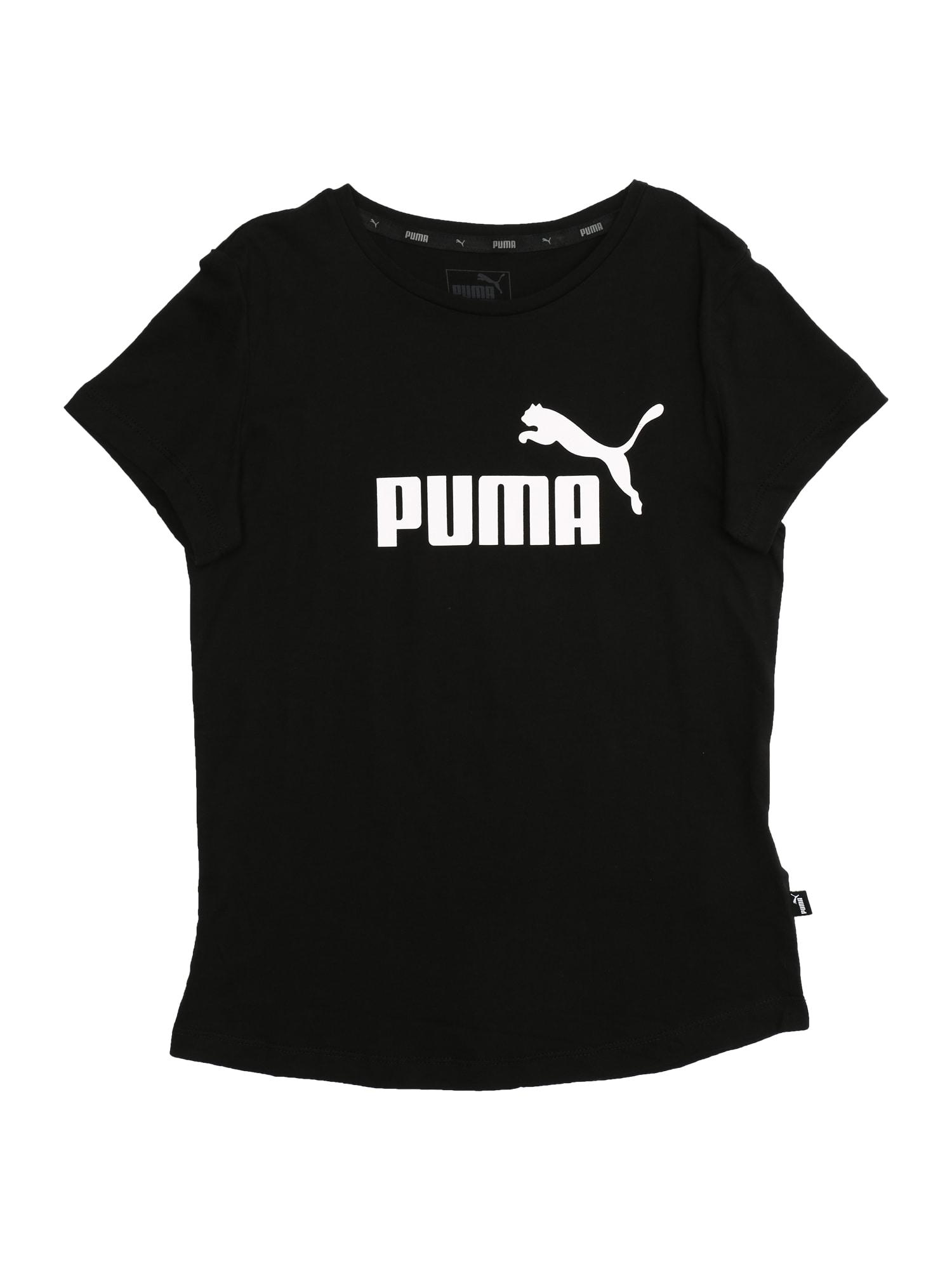 PUMA Sportiniai marškinėliai juoda / balta