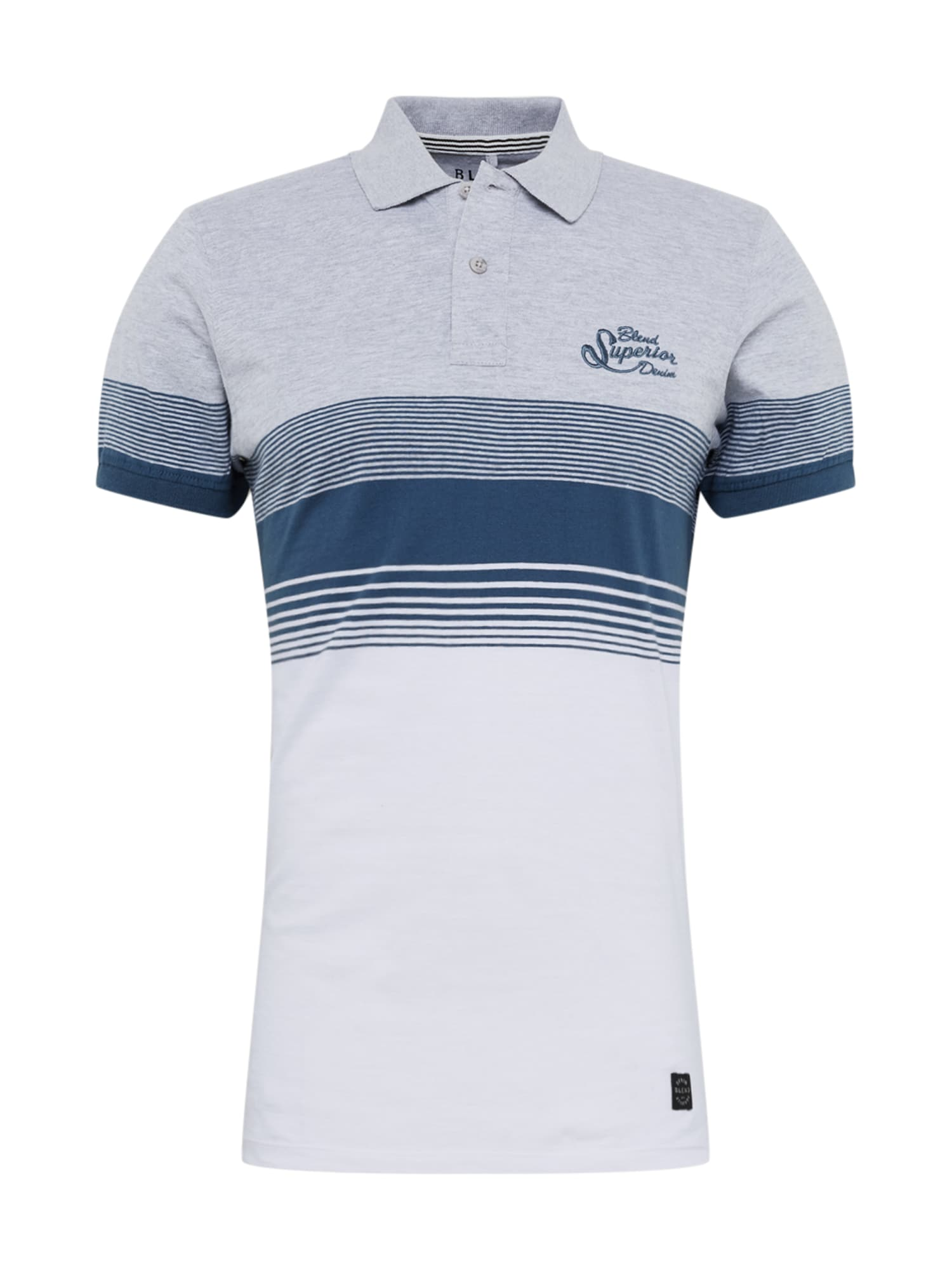 BLEND Marškinėliai balta / pilka / mėlyna