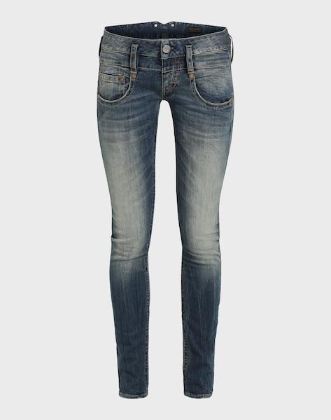 herrlicher 39 pitch slim denim stretch 39 jeans in blue denim. Black Bedroom Furniture Sets. Home Design Ideas